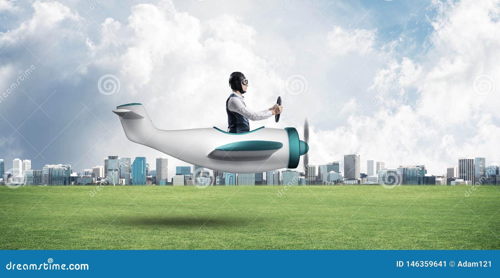 驾驶小螺旋桨推进式飞机的年轻飞行员