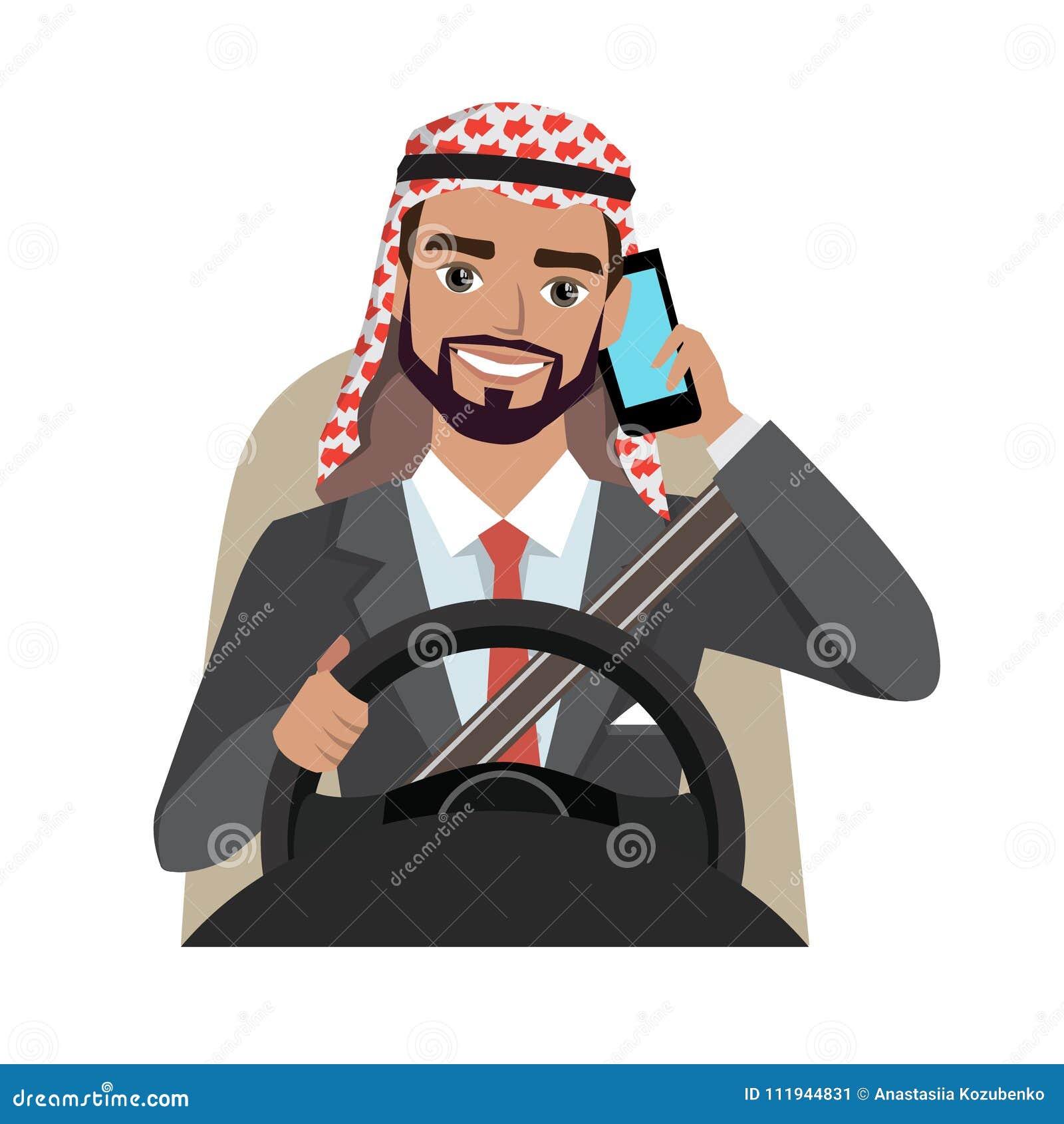 驾驶汽车的阿拉伯商人谈话在电话