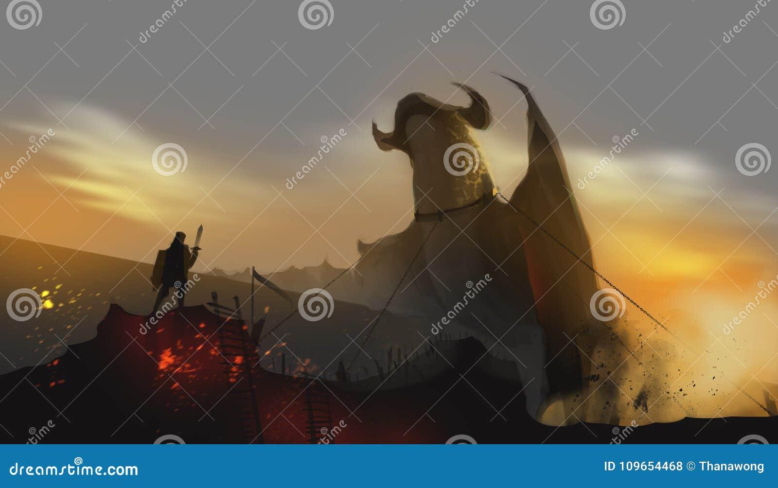 骑士束缚的龙在被放弃的土地,童话骗局