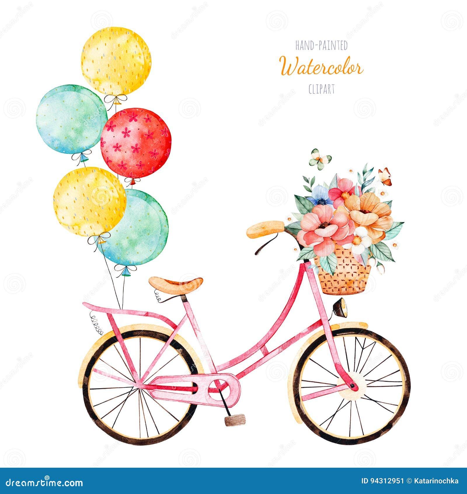 骑自行车与在篮子和多彩多姿的气球的花束