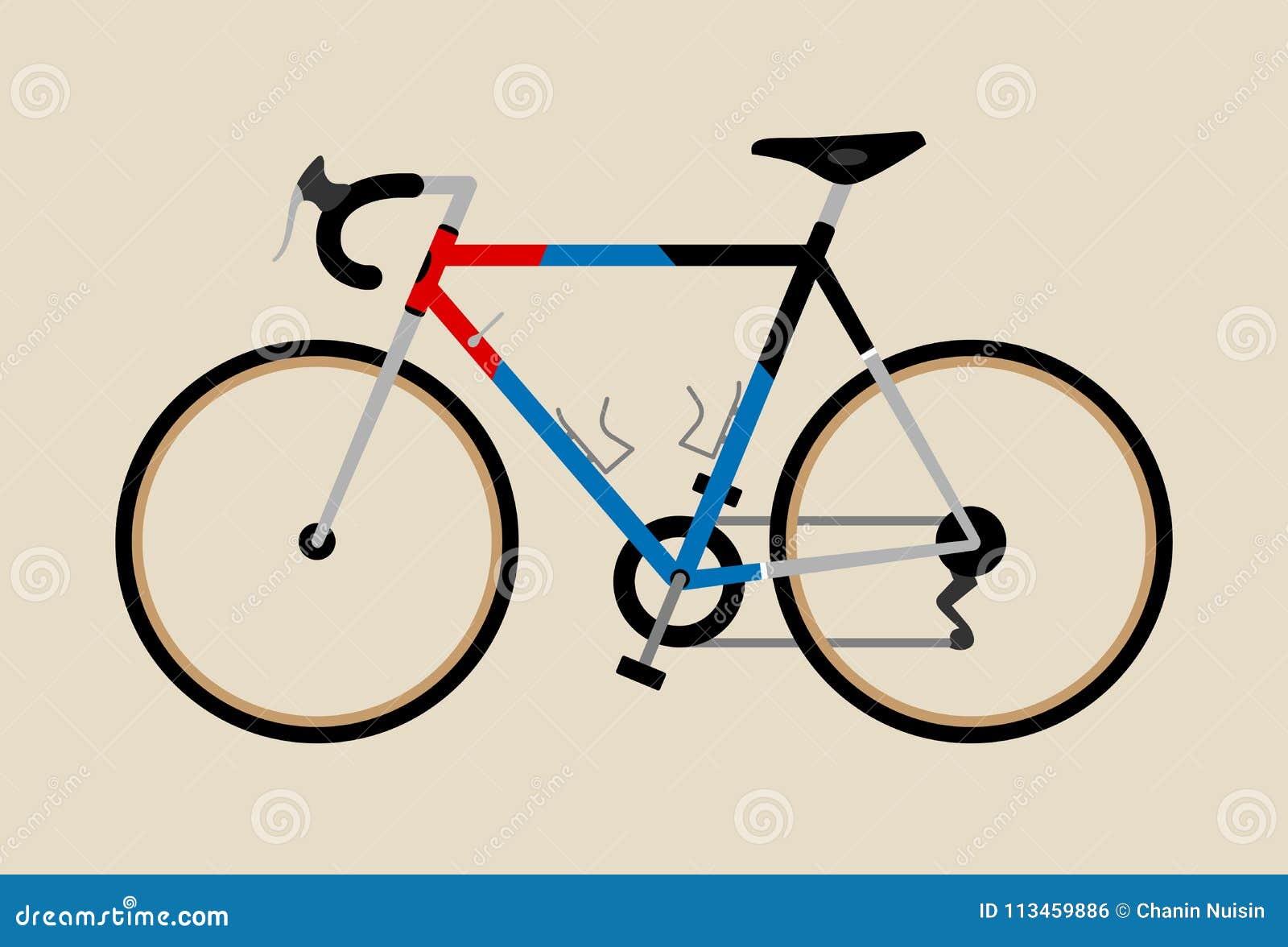 骑自行车循环例证图表葡萄酒的自行车游览公路赛红色深蓝色