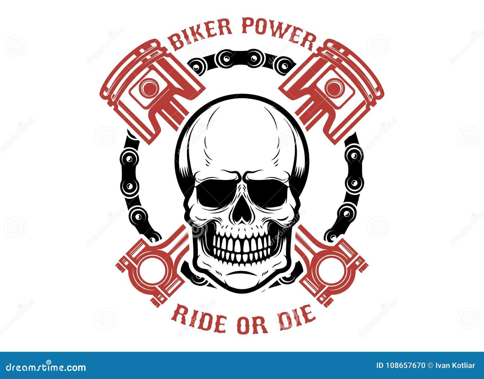 骑自行车的人力量,乘驾或死 有横渡的活塞的人的头骨 设计商标的,标签,象征,标志元素