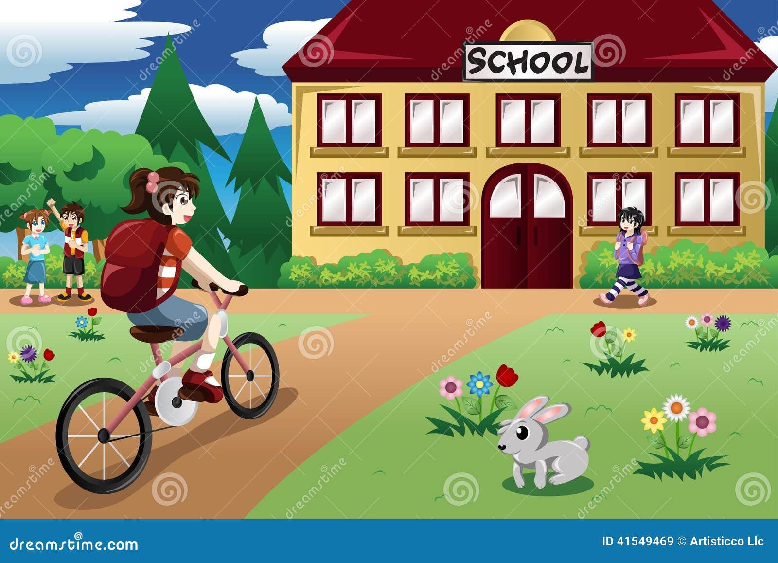 骑自行车的基本的学生女孩对学校