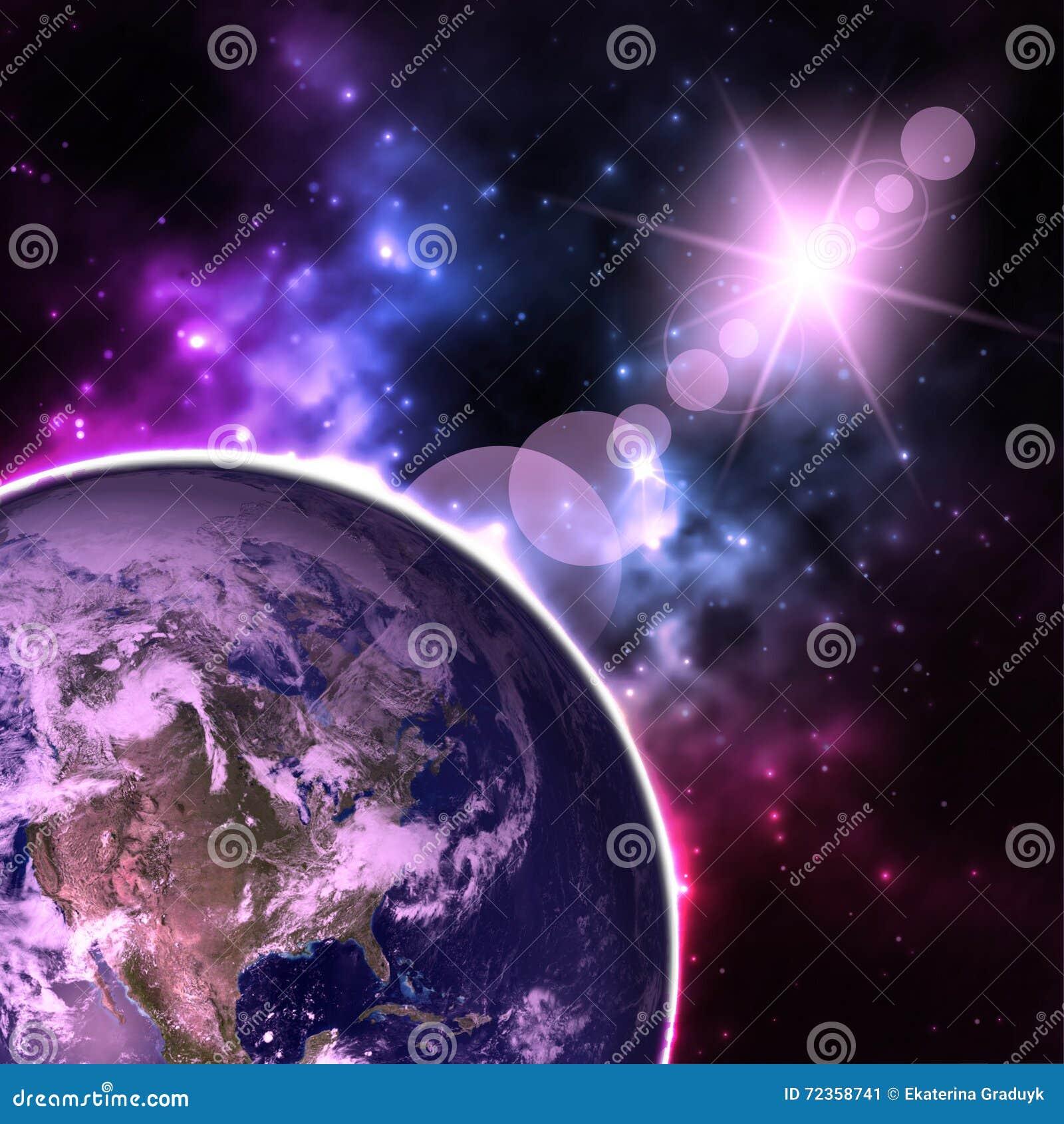 高分辨率行星地球视图 从空间的世界地球在显示地形和云彩的星际 要素
