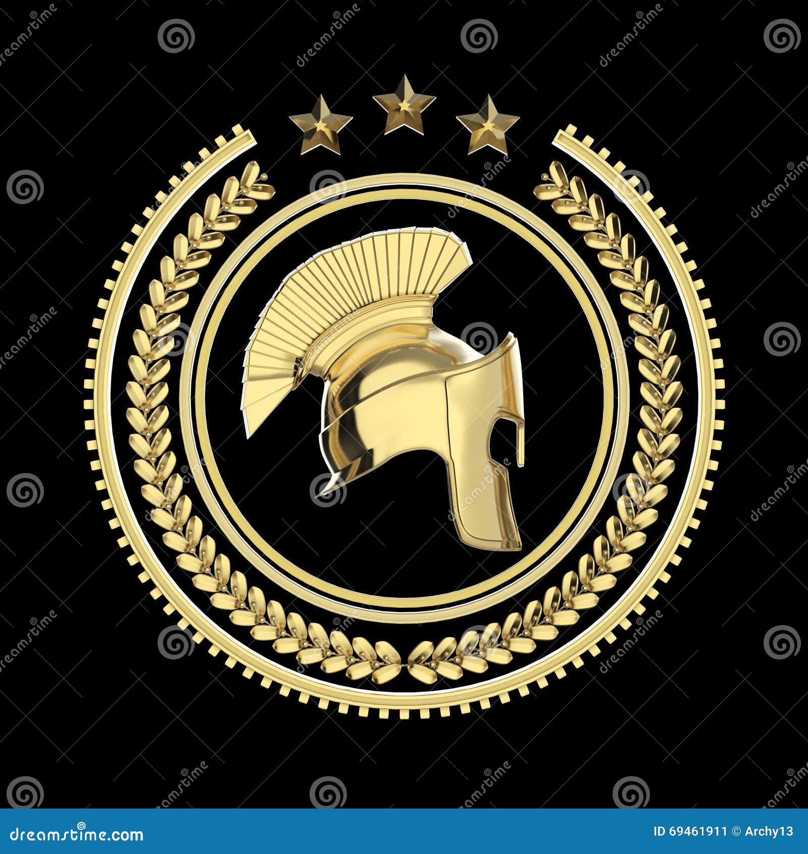 高在月桂树花圈徽章的详细的斯巴达,罗马,希腊盔甲与圆环和星 炫耀军事战斗的象,回报