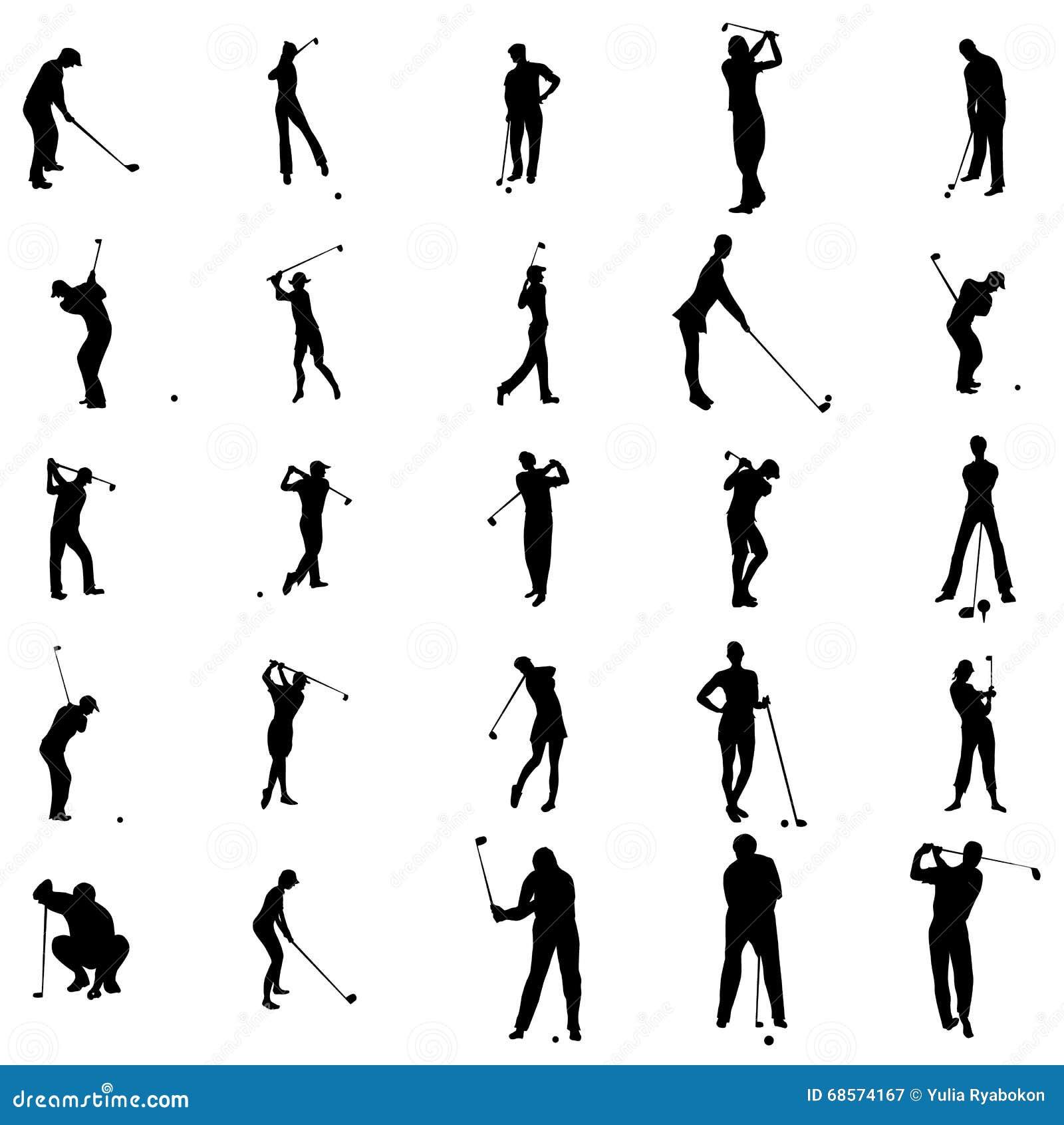 高尔夫球运动员剪影集合象,简单的样式