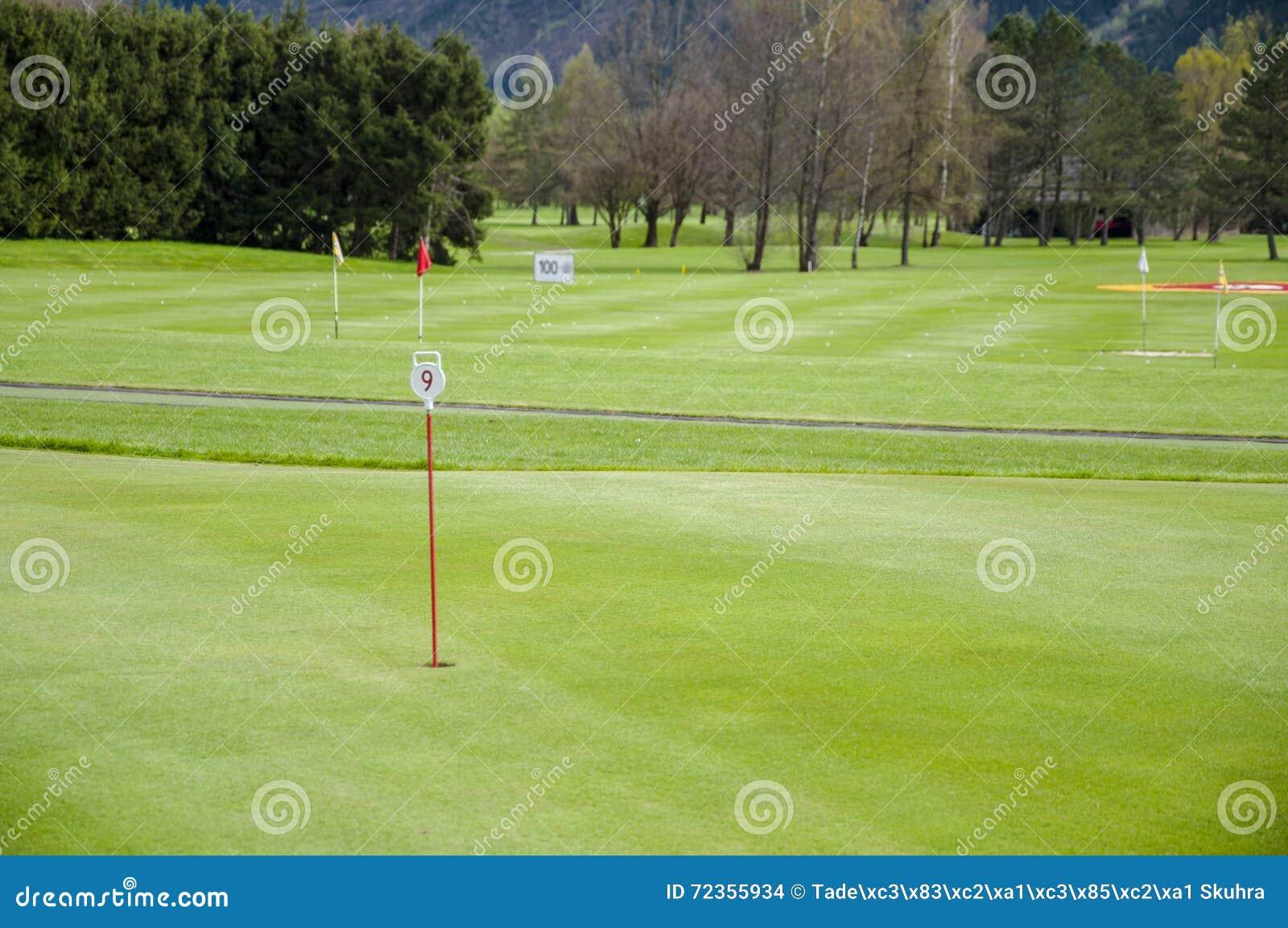 高尔夫球绿色特写镜头