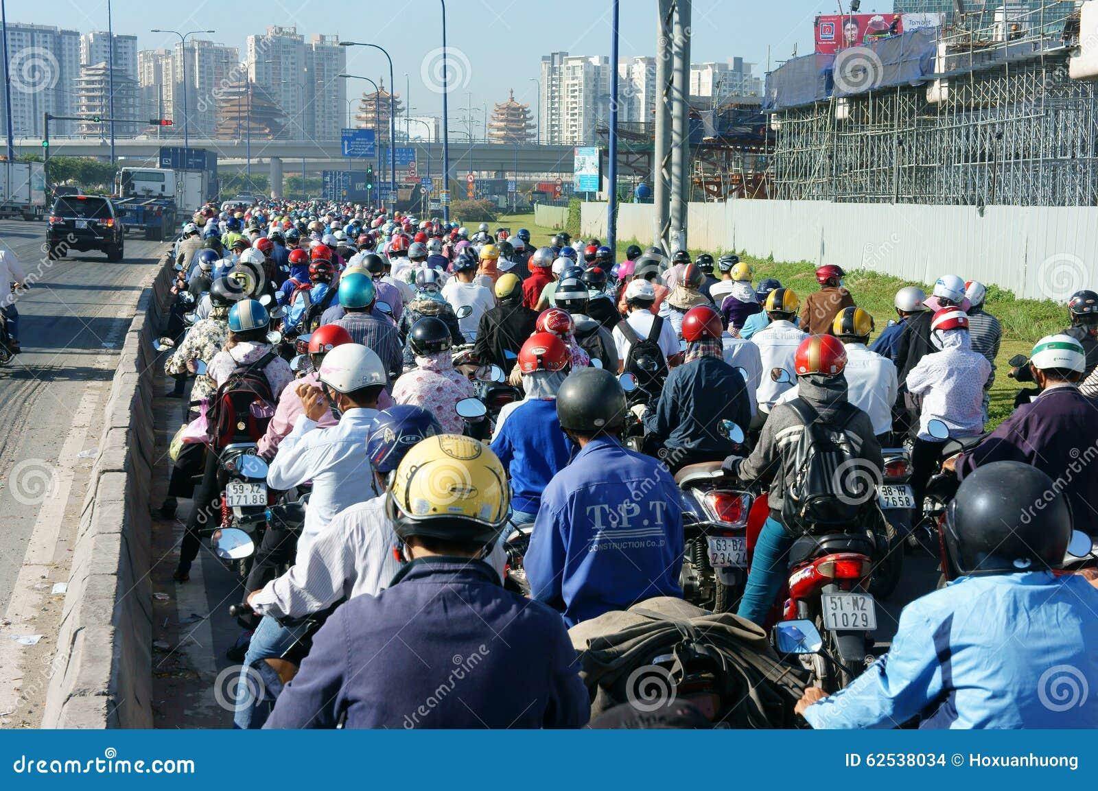 高峰时间,摩托车,交通堵塞,亚洲城市