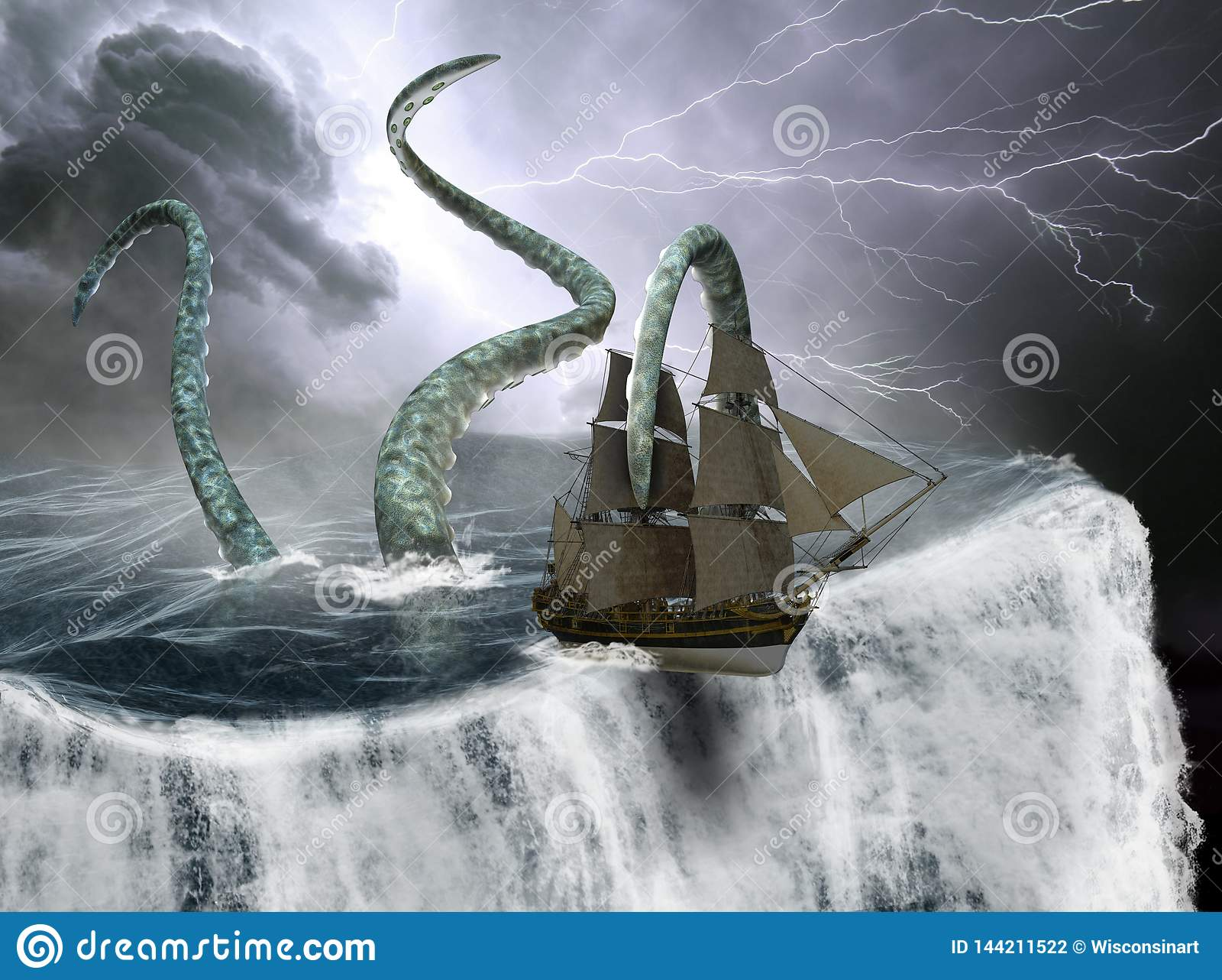 高帆船,世界边缘,海怪