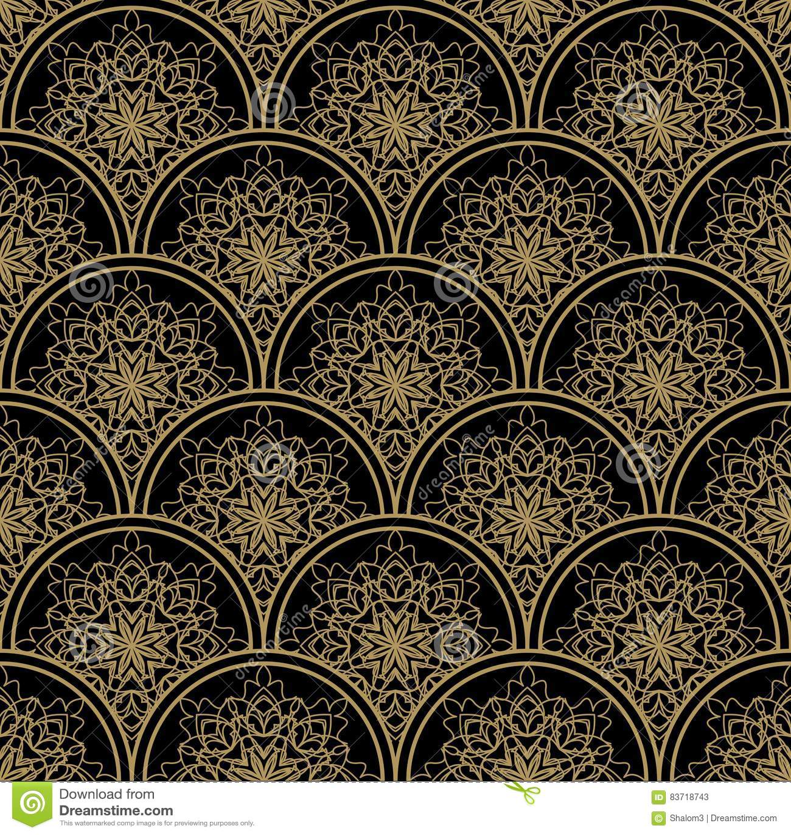 高有金银细丝工的金黄装饰品的不同的无缝的背景瓦片在黑帆布 葡萄酒在锦缎设计的织品样式