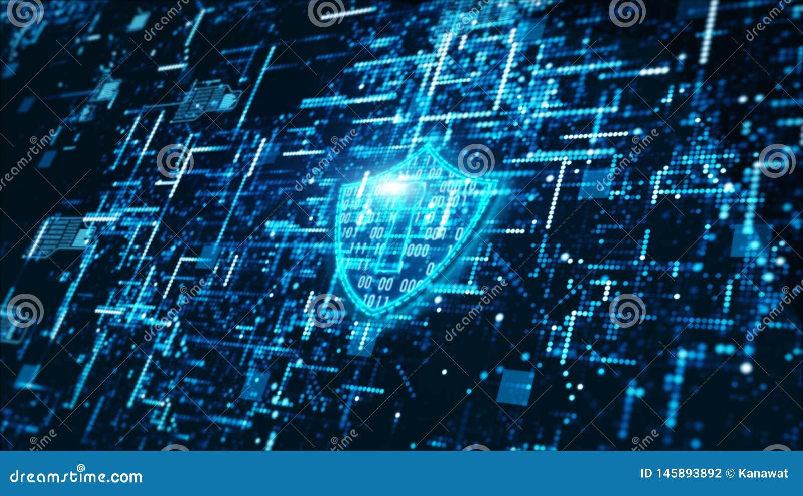 高科技数字技术网络安全显示全息照相的信息抽象背景