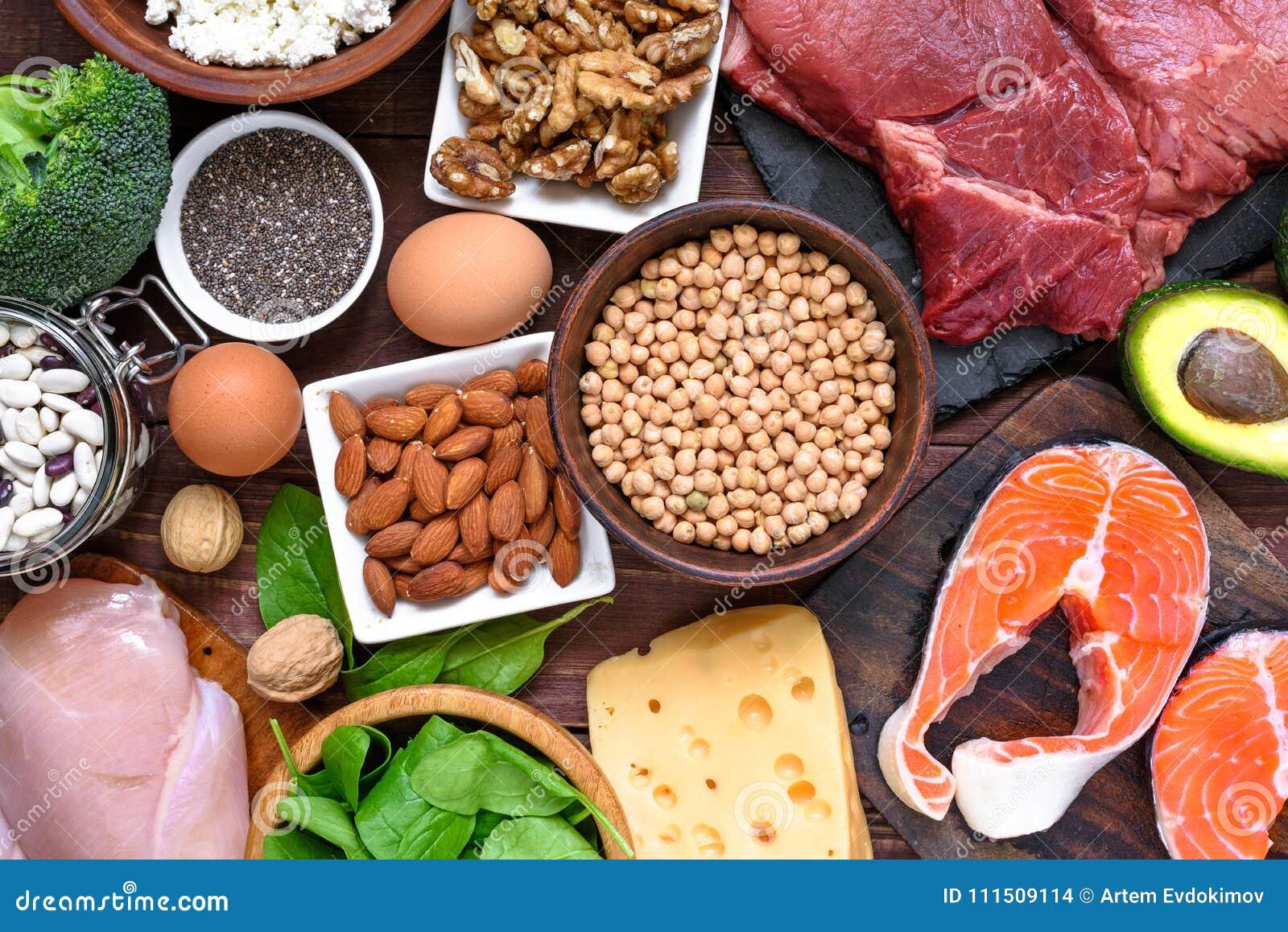 高蛋白食物-鱼、肉、禽畜、坚果、鸡蛋和菜 健康吃和饮食概念