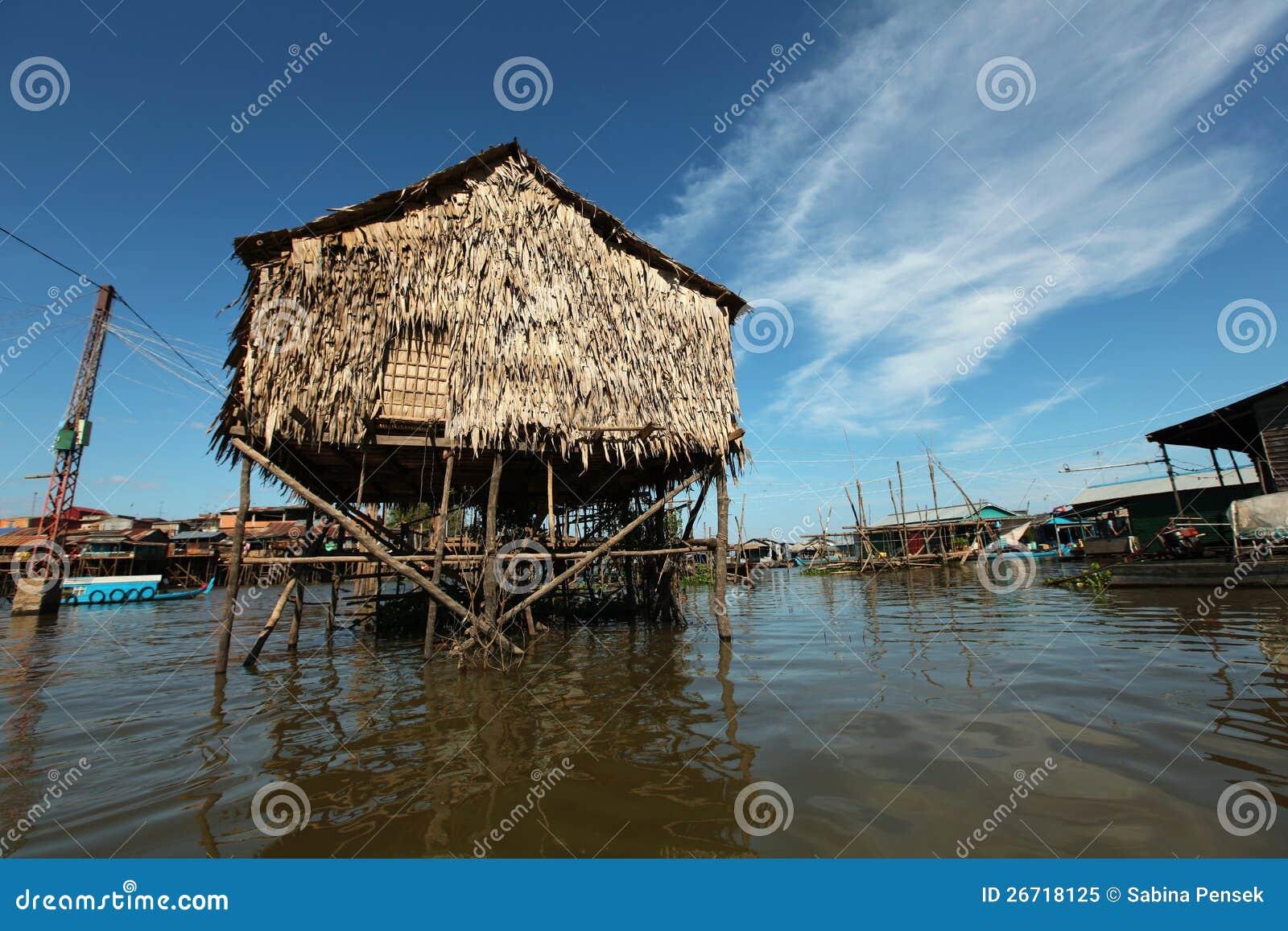 高跷的Inle湖浮动的村庄房子