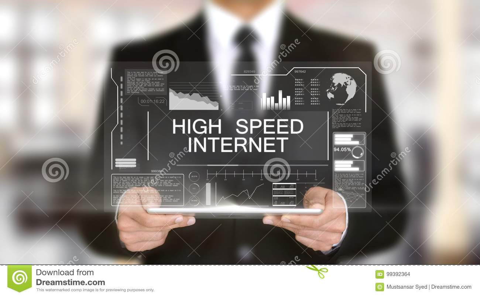 高速互联网,全息图未来派接口概念,被增添的真正
