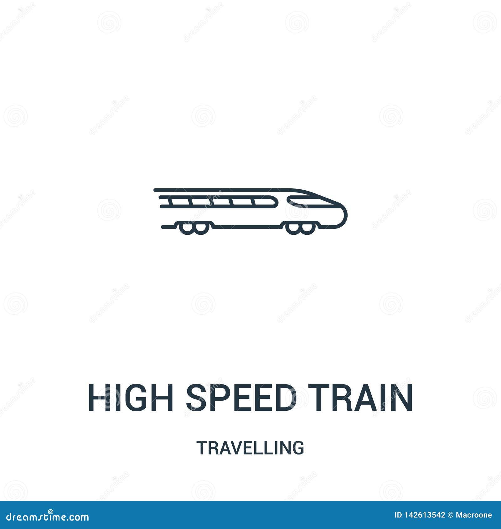高速火车从旅行的收藏的象传染媒介 稀薄的线高速火车概述象传染媒介例证 ??