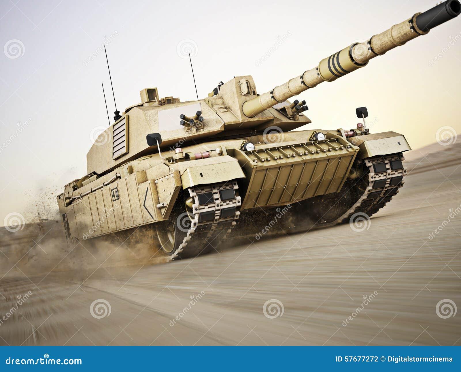 以高速率移动速度的军事装甲的坦克