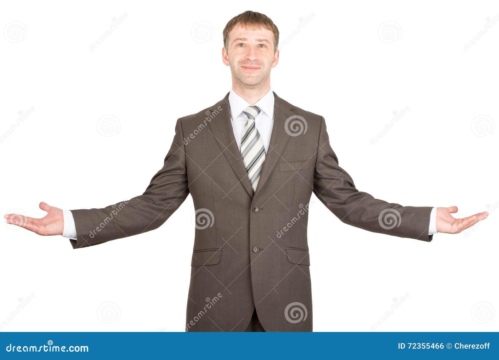 兴高采烈的商人伸了他的手