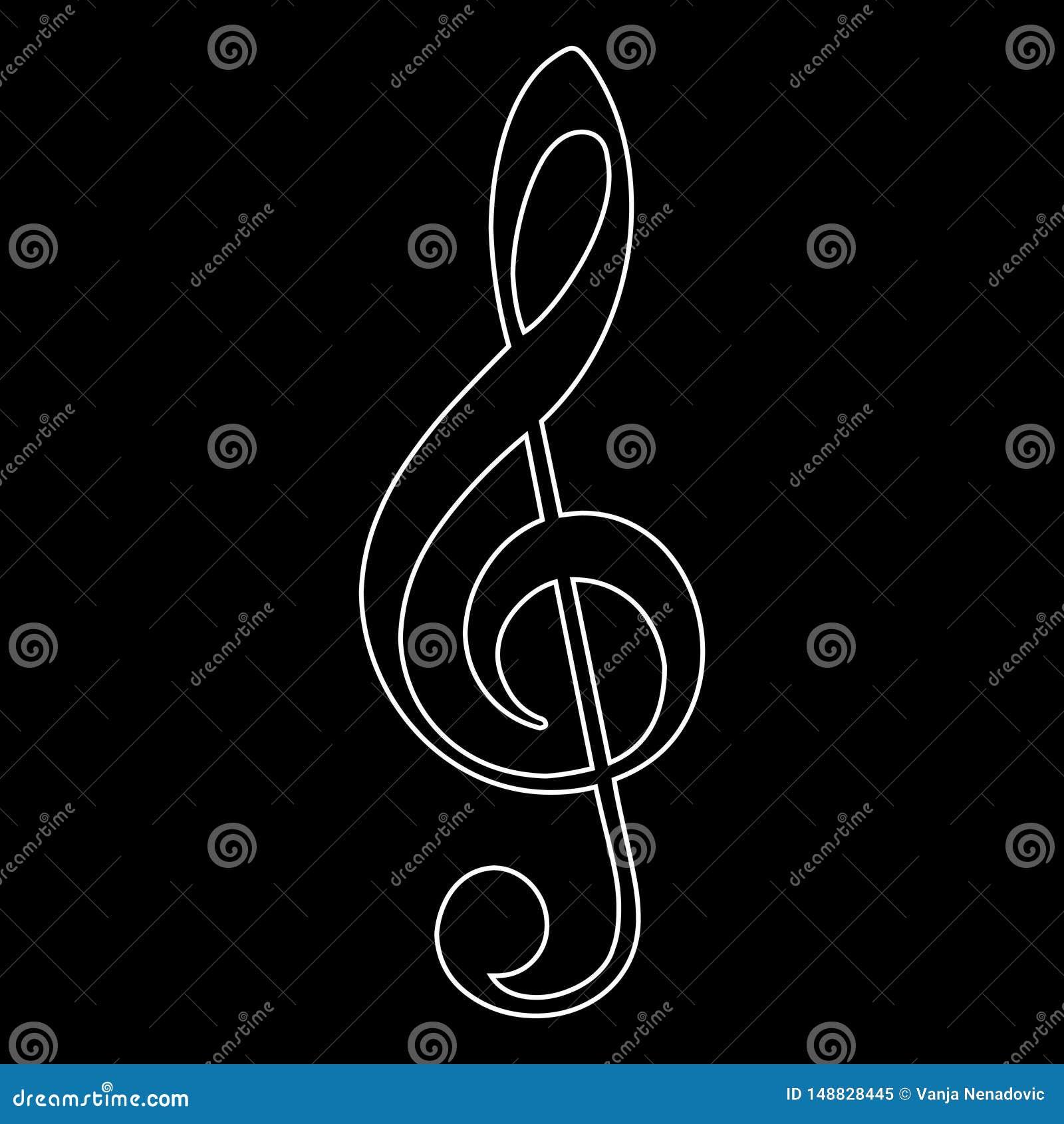 高音谱号象,音乐笔记,传染媒介例证