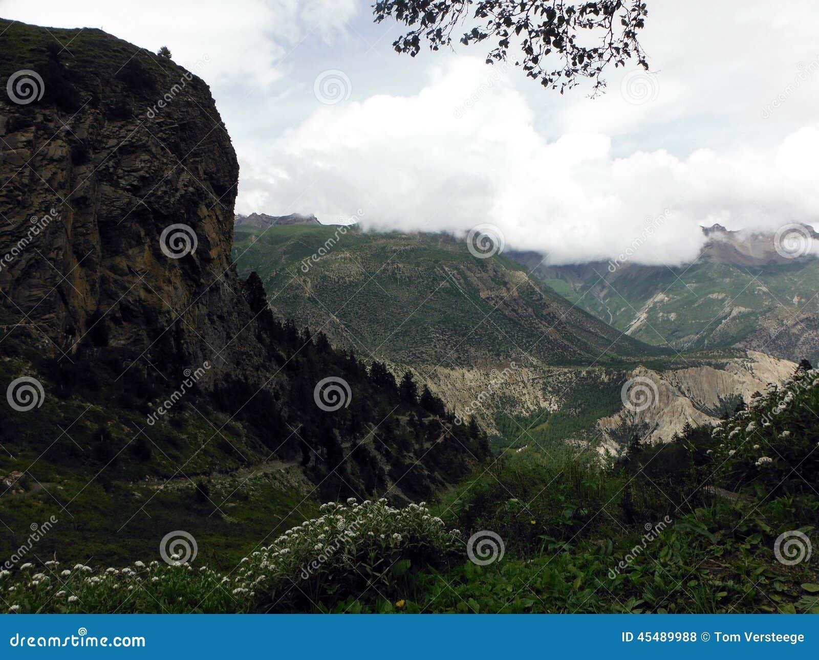 高风景喜马拉雅背包徒步旅行者的足迹