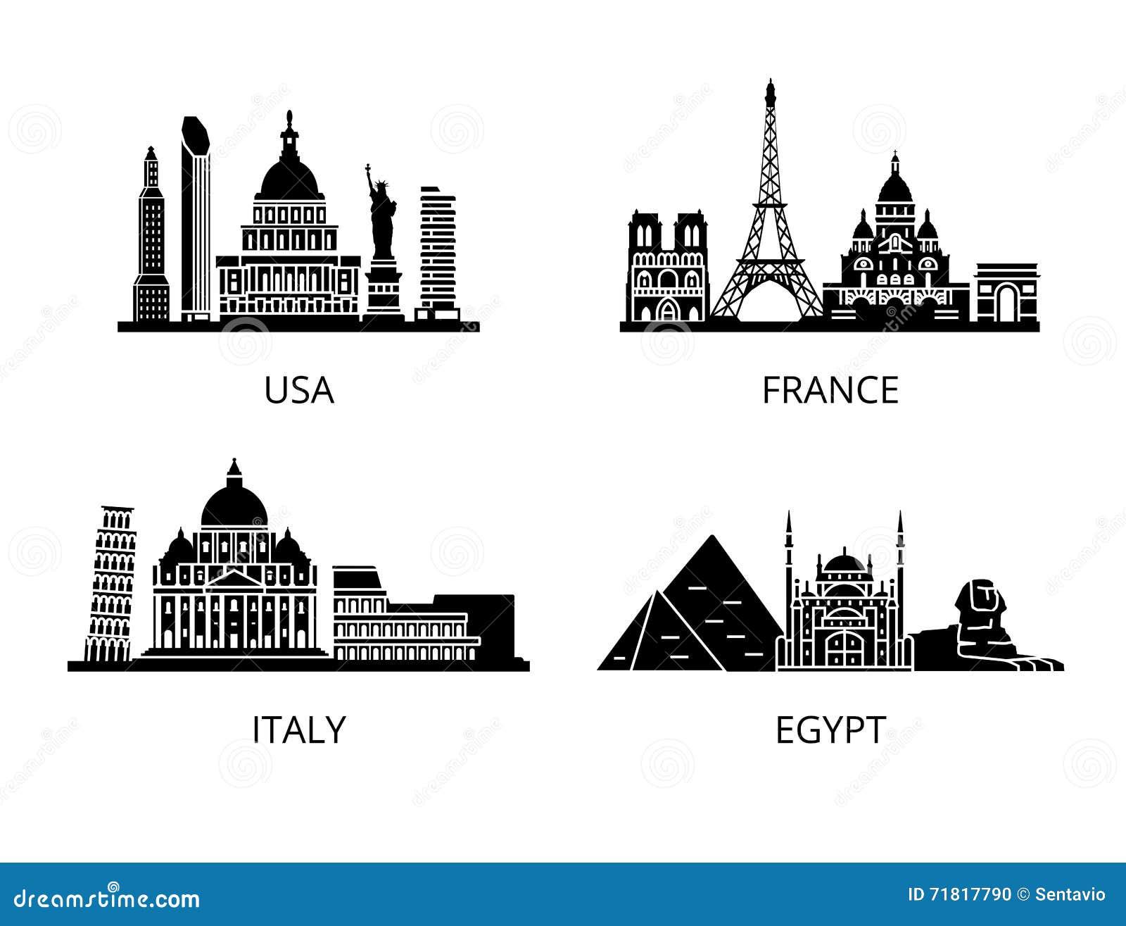 高细节地标剪影钢板蜡纸集合 世界国家