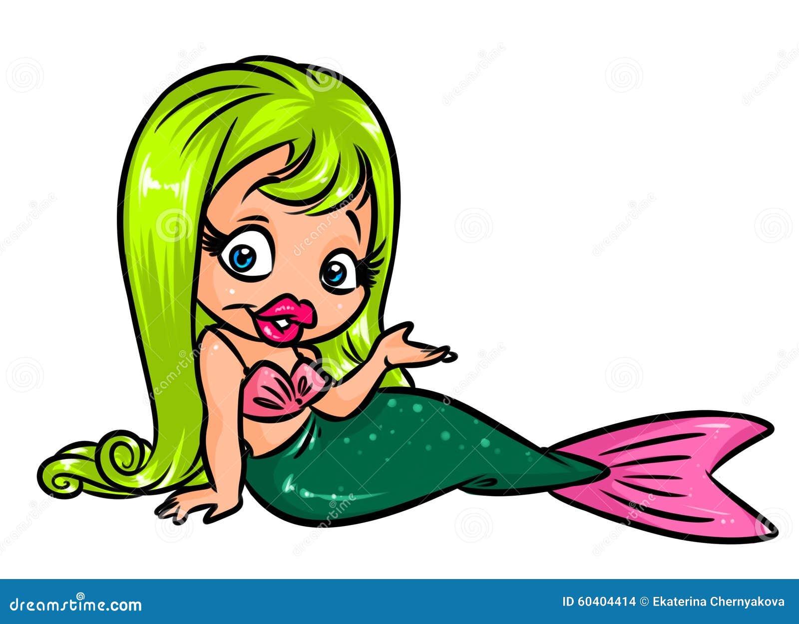 魅力小的美人鱼动画片例证