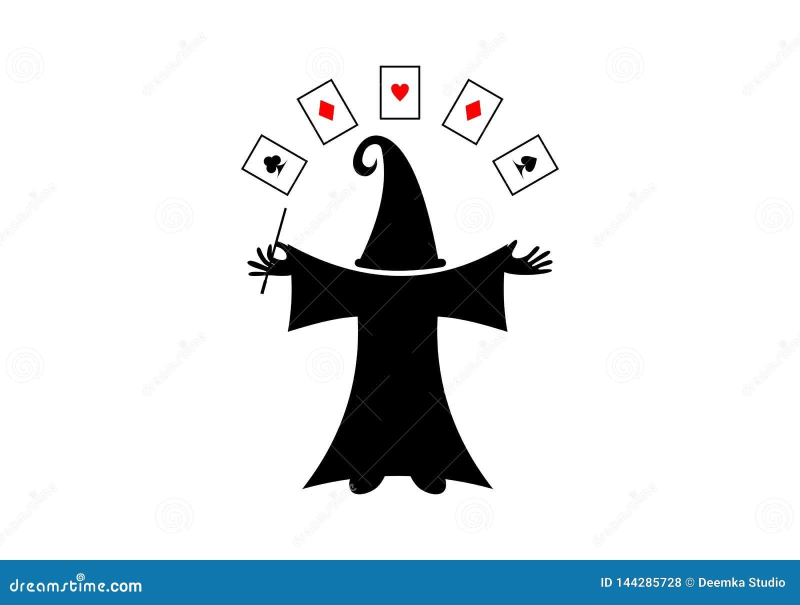 魔术师帽子和卡片商标概念