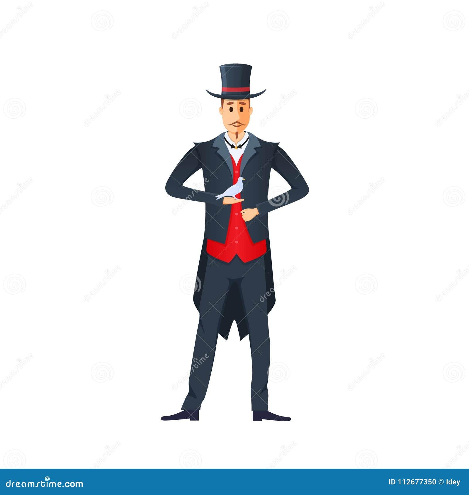 魔术师,魔术师,采取鸠在他的袖子外面