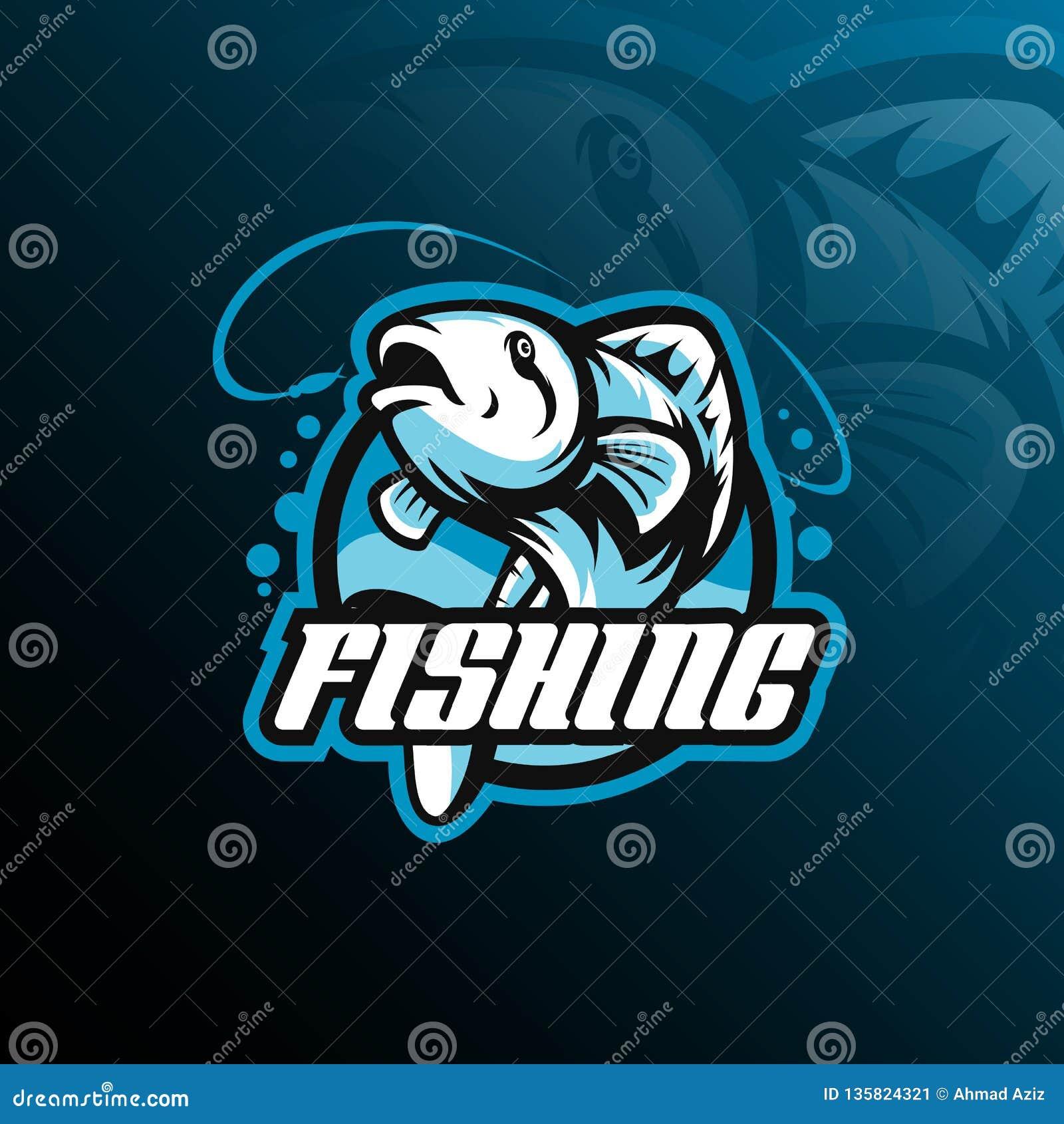 鱼吉祥人商标与现代例证概念样式的设计传染媒介徽章、象征和T恤杉打印的 鱼跳跃