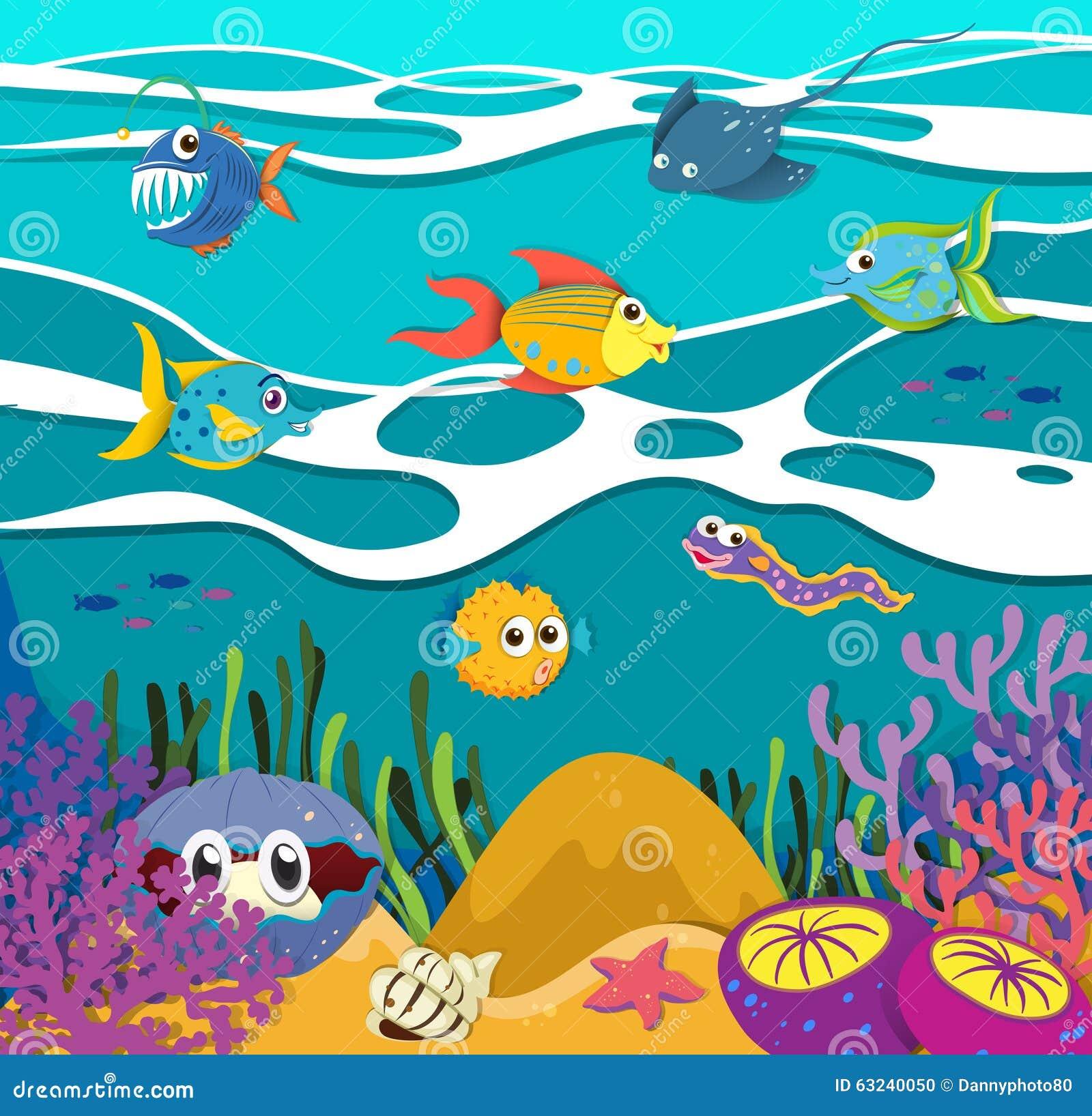 鱼和海洋动物水下的例证.图片