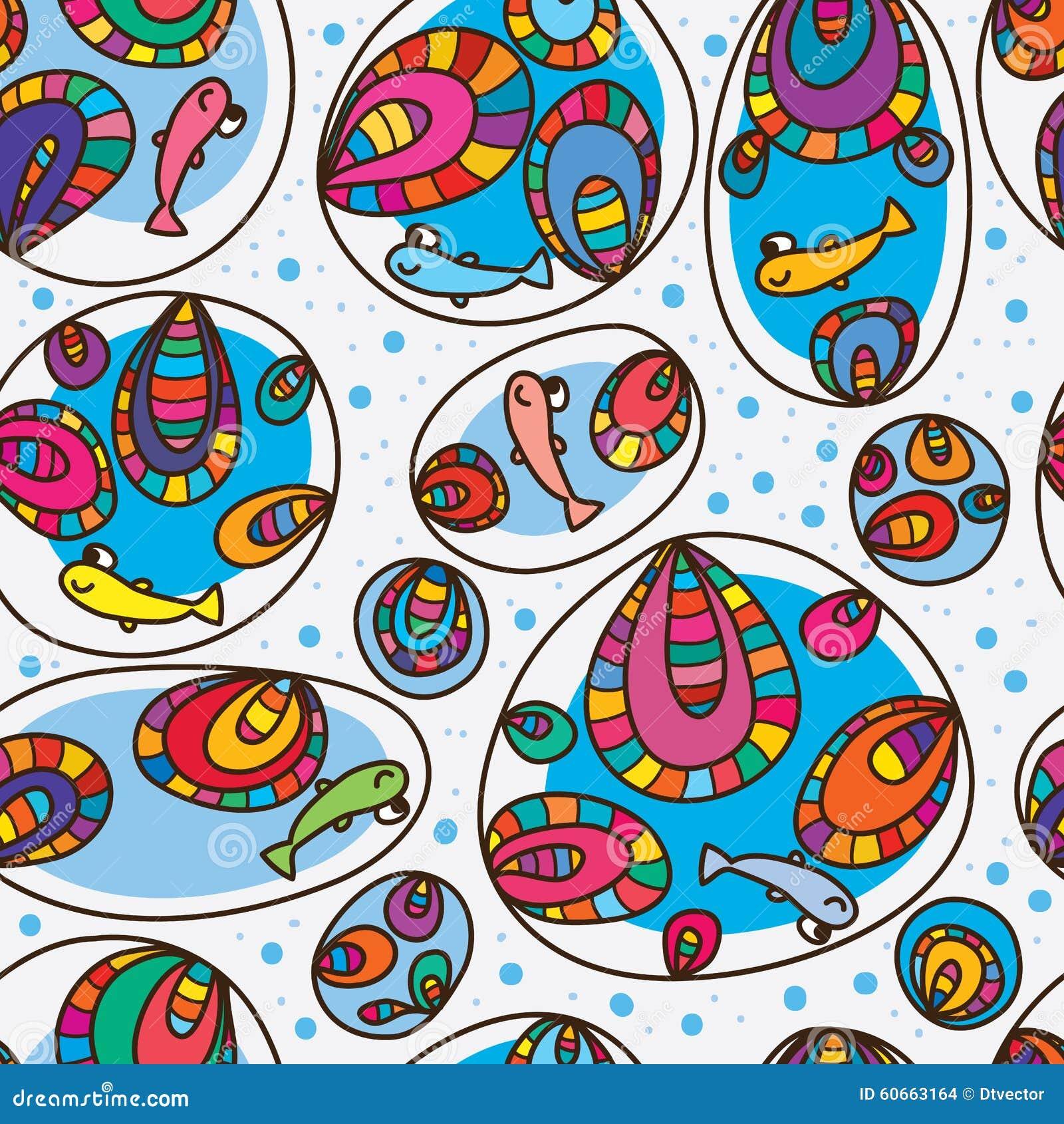 鱼愉快的五颜六色的泡影无缝的样式