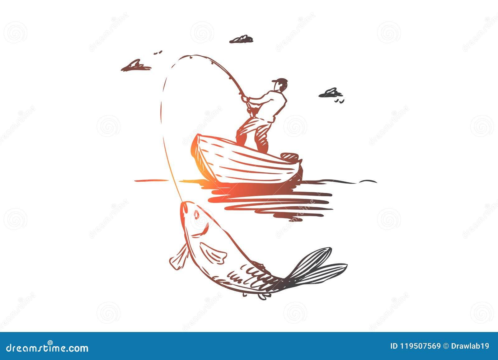 鱼,渔,抓住,小船概念 手拉的被隔绝的传染媒介