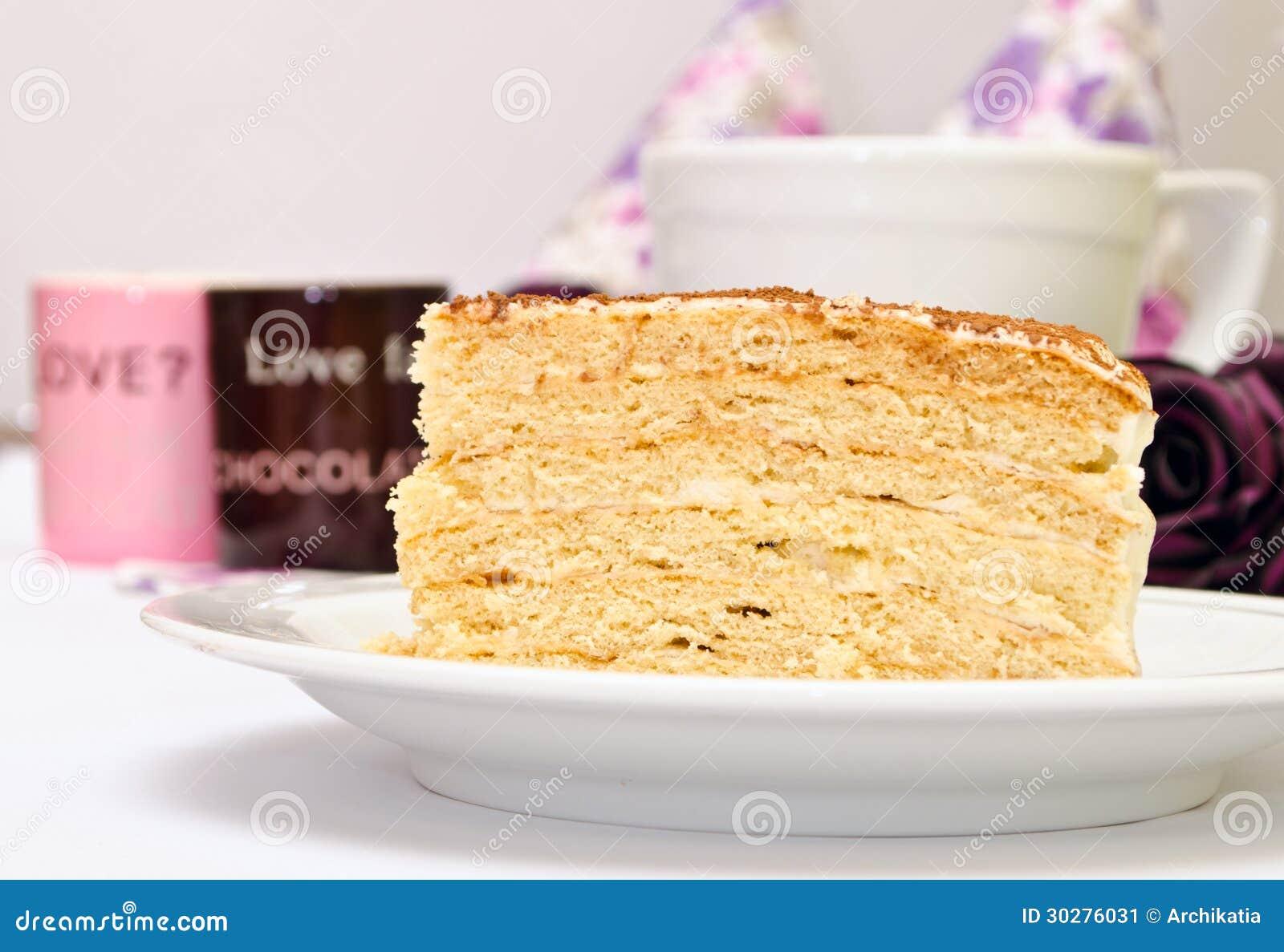 与奶油的鲜美蛋糕