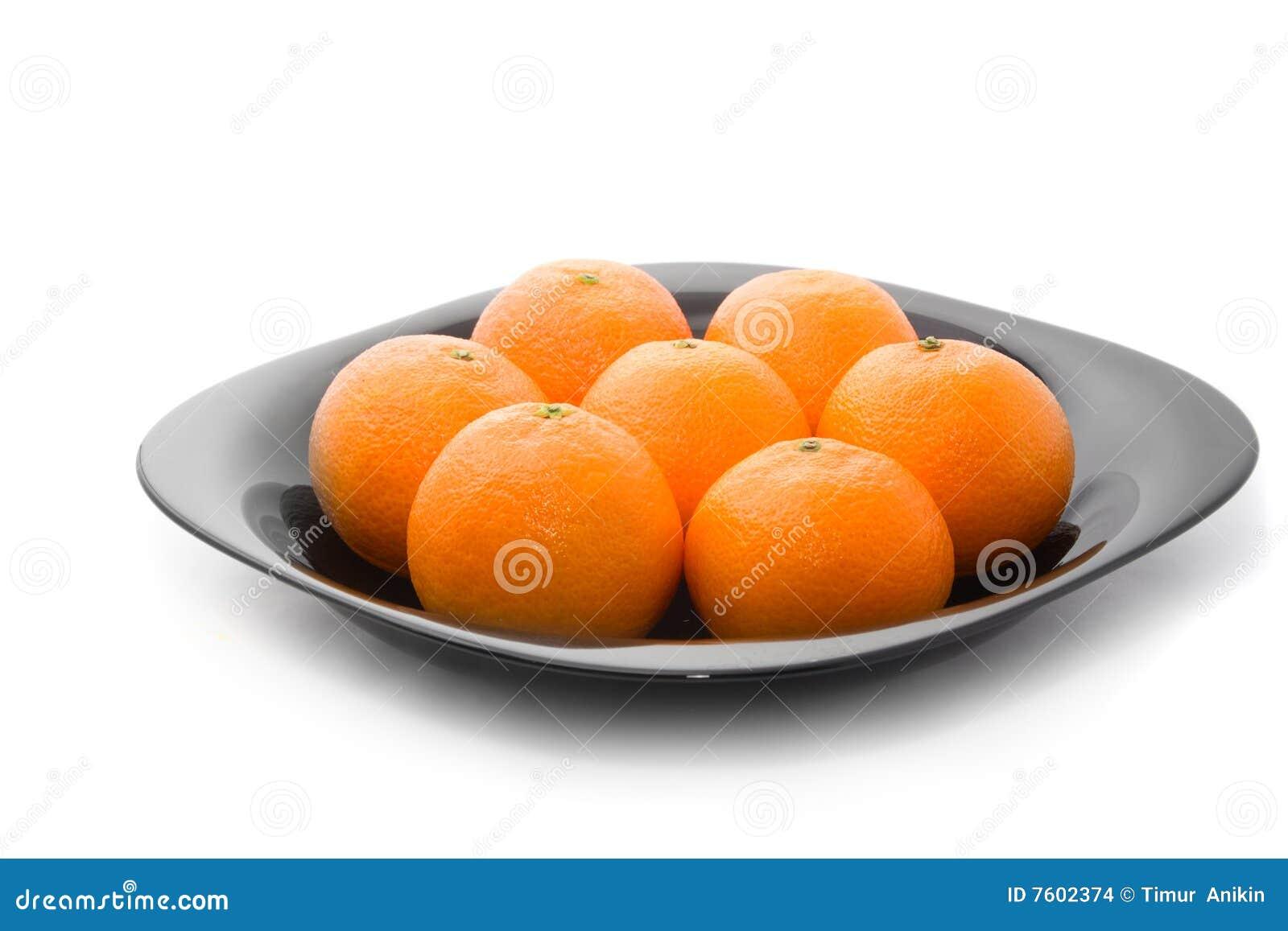 鲜美黑色橙色牌照的tangerins
