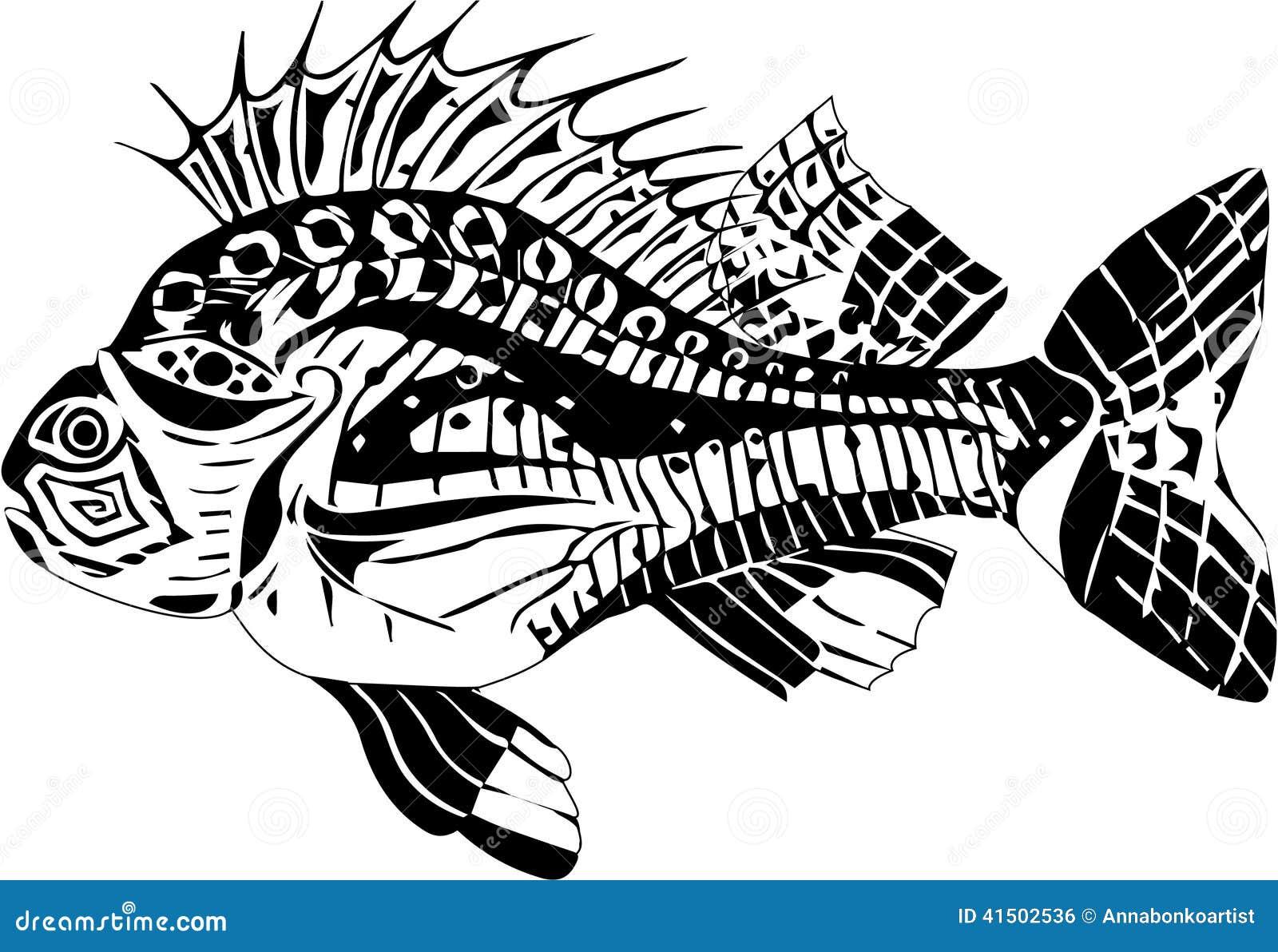 一条鲤鱼鱼的仿效在黑白颜色的.图片