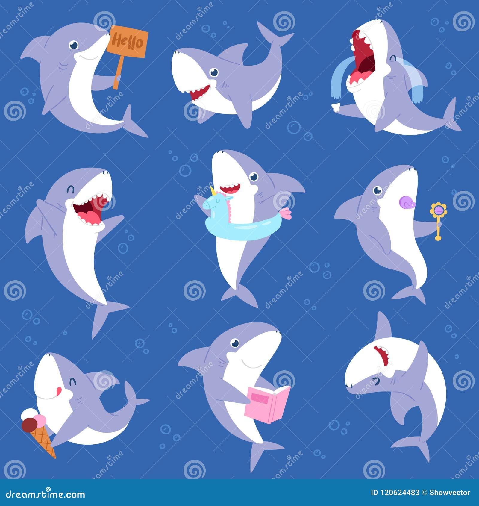 鲨鱼传染媒介微笑与锋利的牙齿例证套的动画片海水鱼渔场字符例证孩子设置了