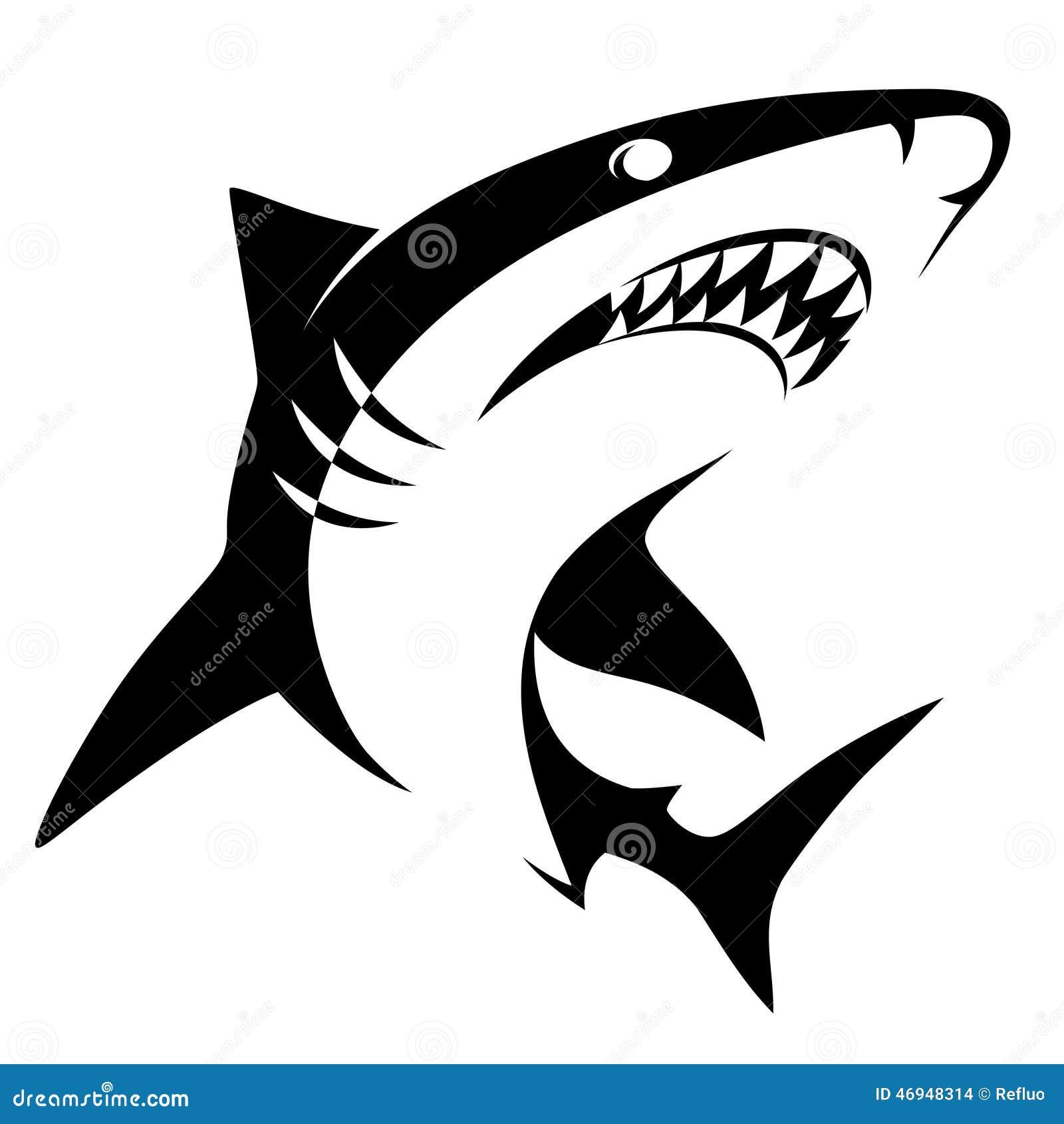 鲨鱼标志 向量例证 插画 包括有 查出 剪影 简单 水生 海洋 致命地 鲨鱼 象征 纹身花刺