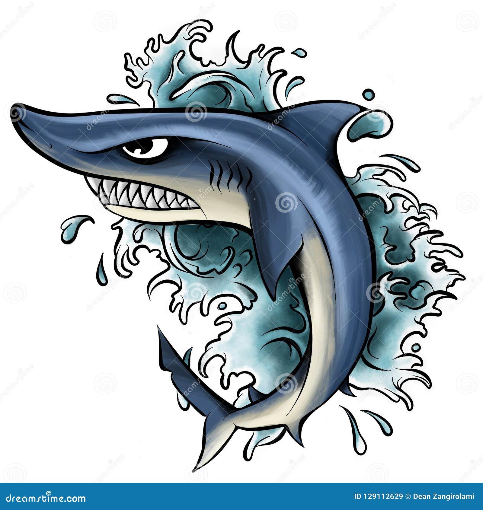 鲨鱼的例证与开放嘴的有很多锋利的牙齿 来自水的鲨鱼攻击