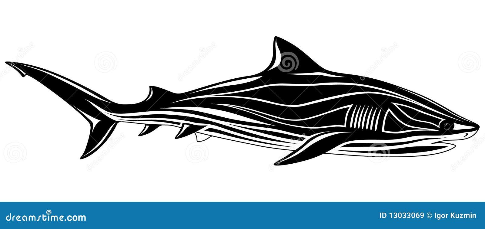 鲨鱼纹身花刺