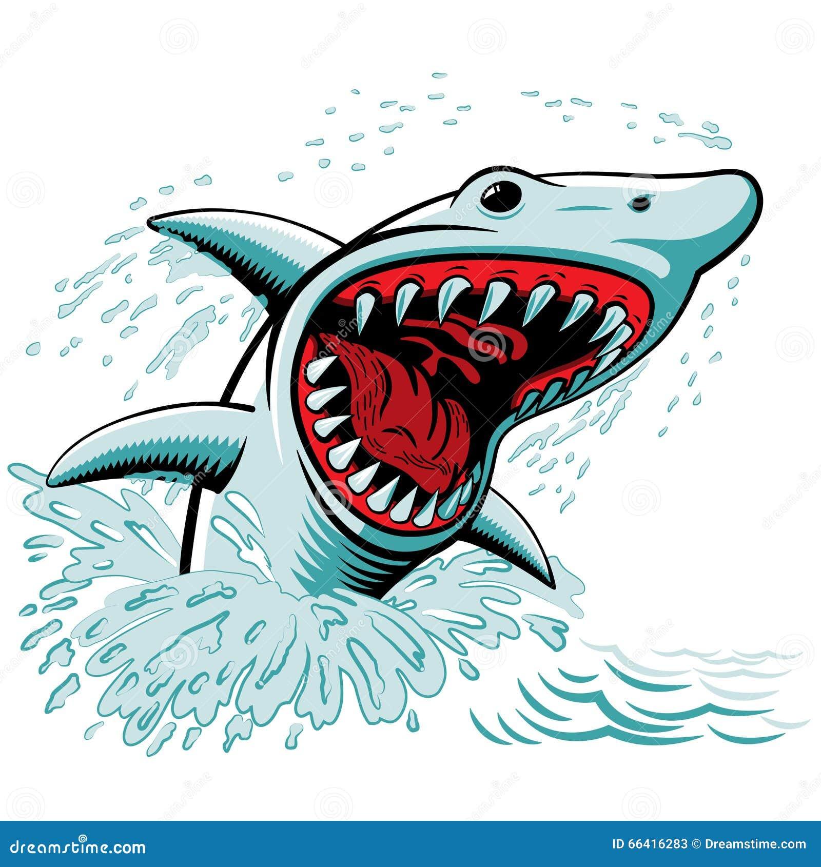 鲨鱼传染媒介图画 可怕和强有力的下颌.图片