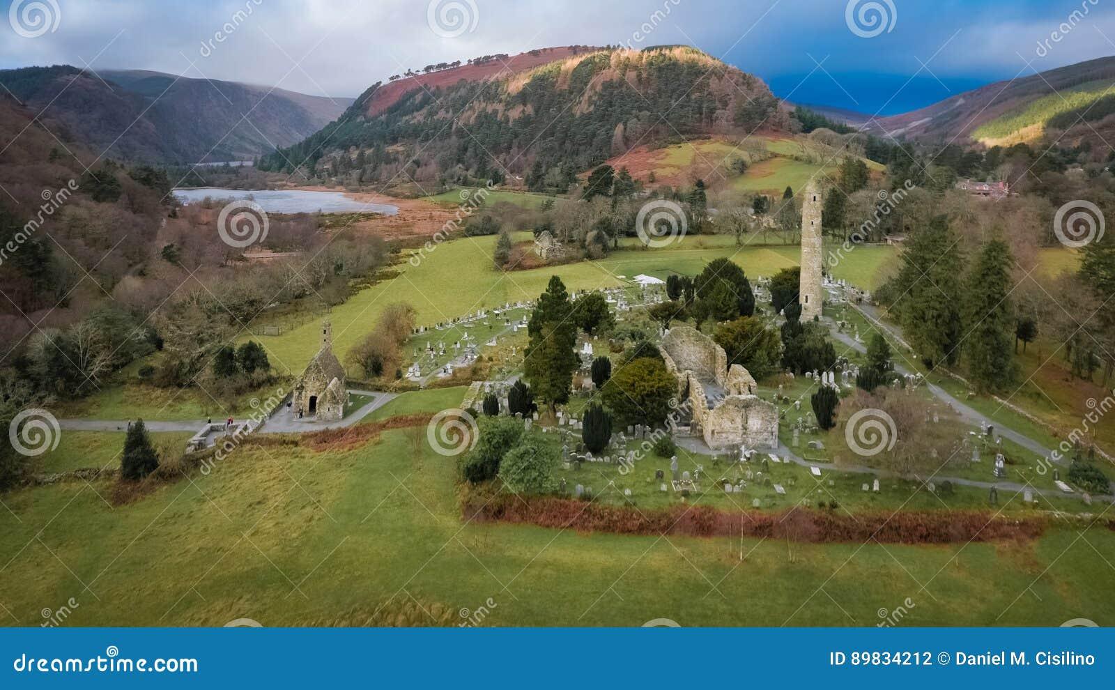 鸟瞰图 Glendalough 威克洛 爱尔兰