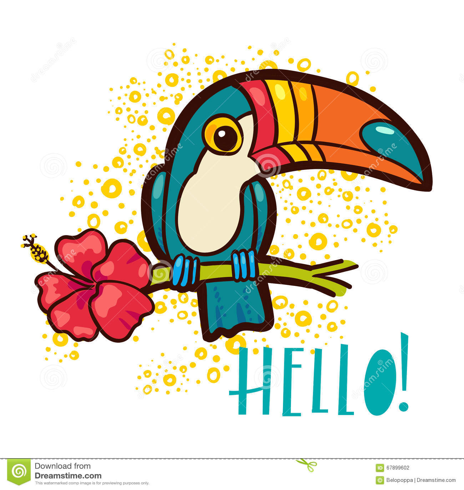 鸟Toucan,热带木槿在动画片样式开花 词组你好