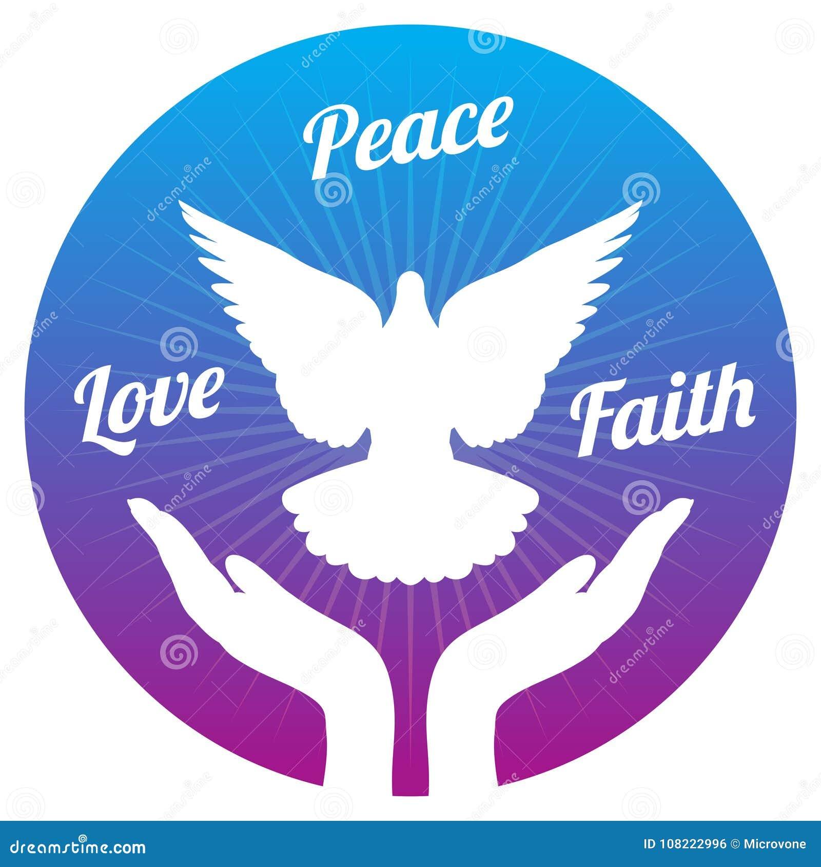 鸠从手的和平飞行在天空 爱、自由和宗教信念导航概念