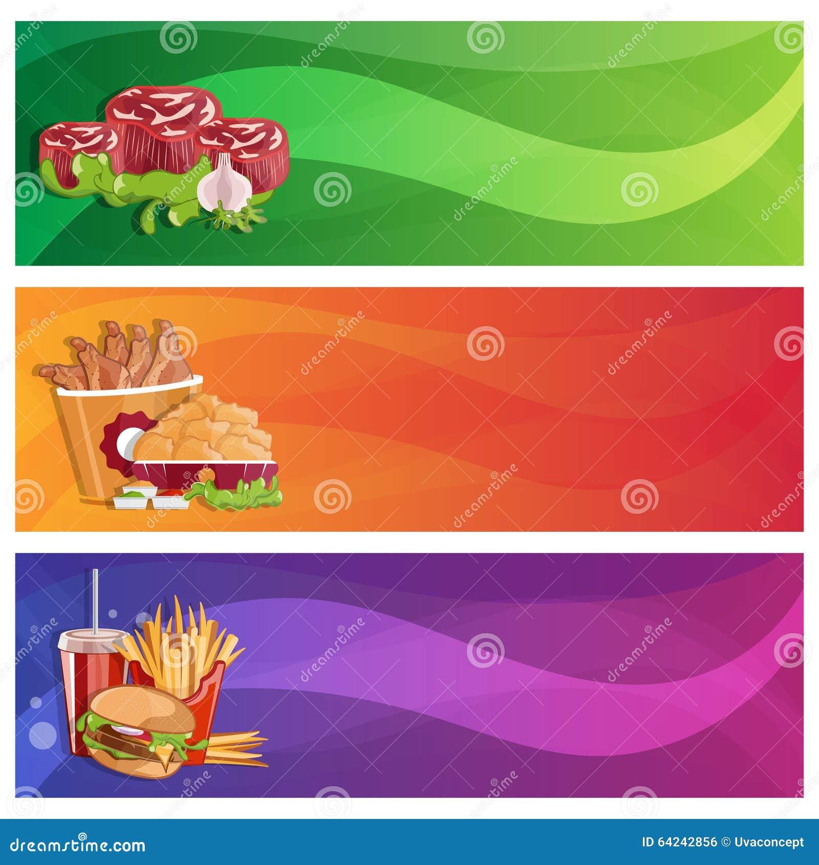 鸡、油炸物、牛排和汉堡被设置的传染媒介横幅