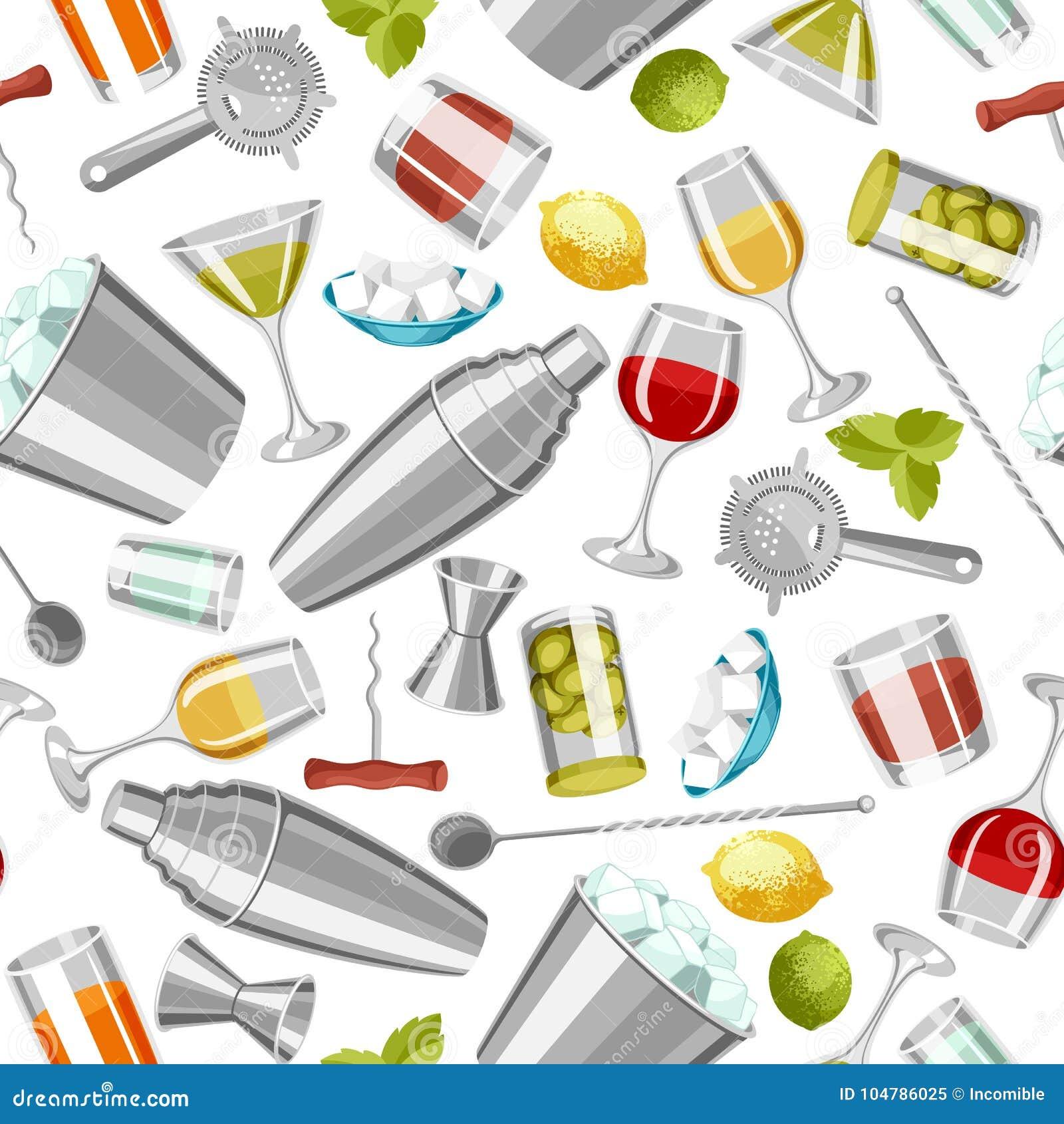 鸡尾酒酒吧无缝的样式 根本工具,玻璃器皿,搅拌器和装饰