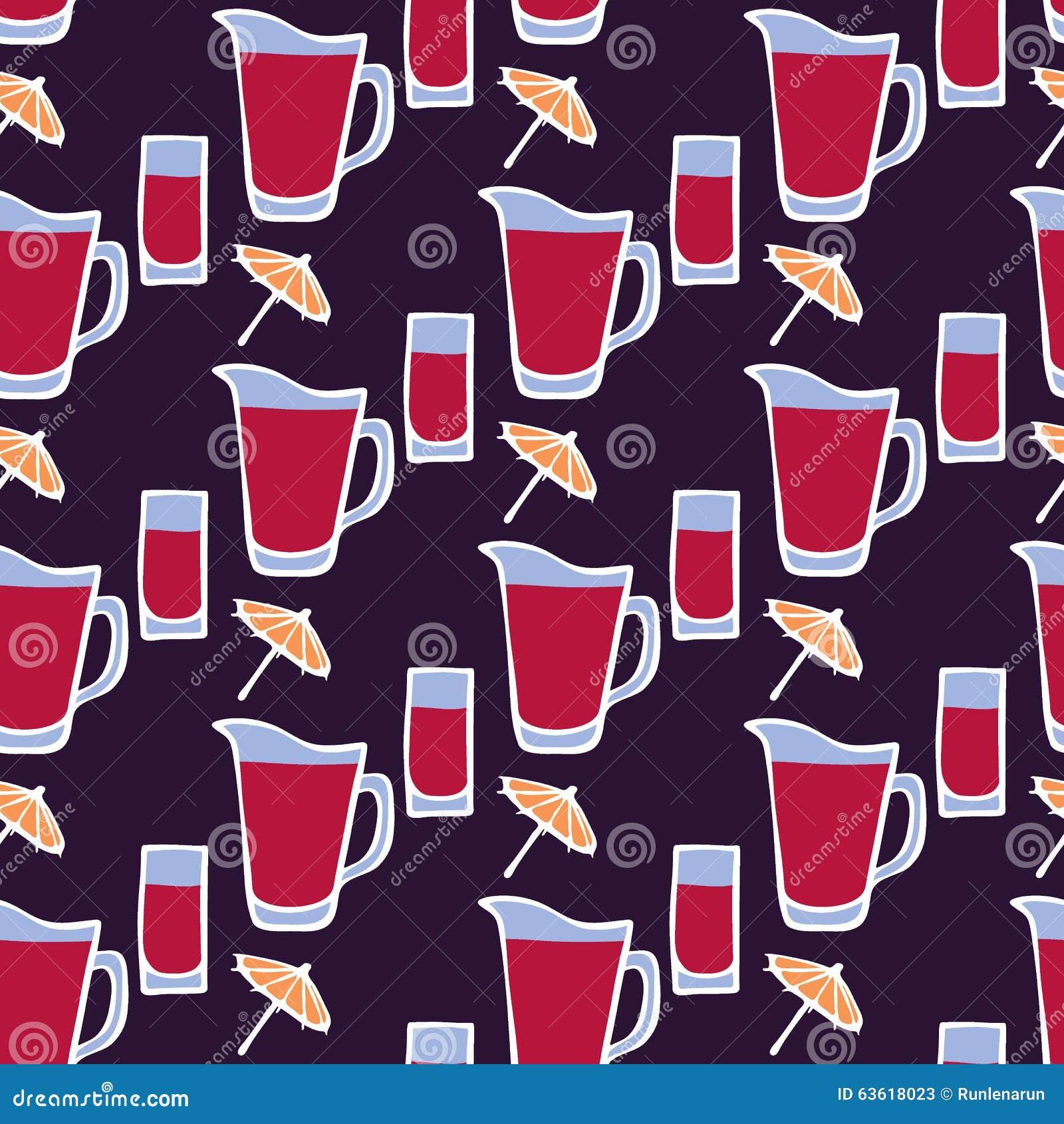 鸡尾酒 与玻璃,伞的无缝的样式