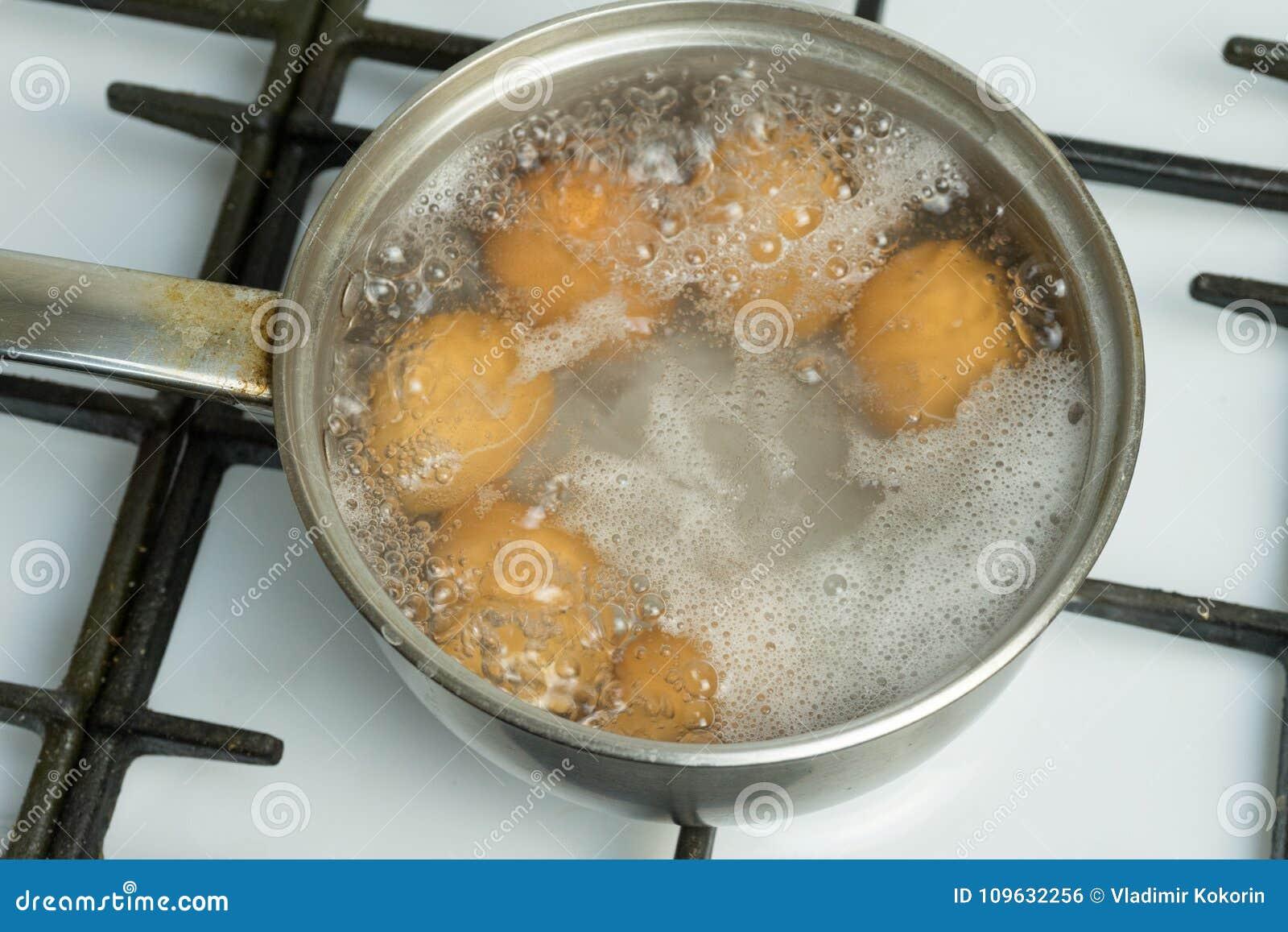 鸡蛋煮沸在水中 有产品的平底锅在煤气炉