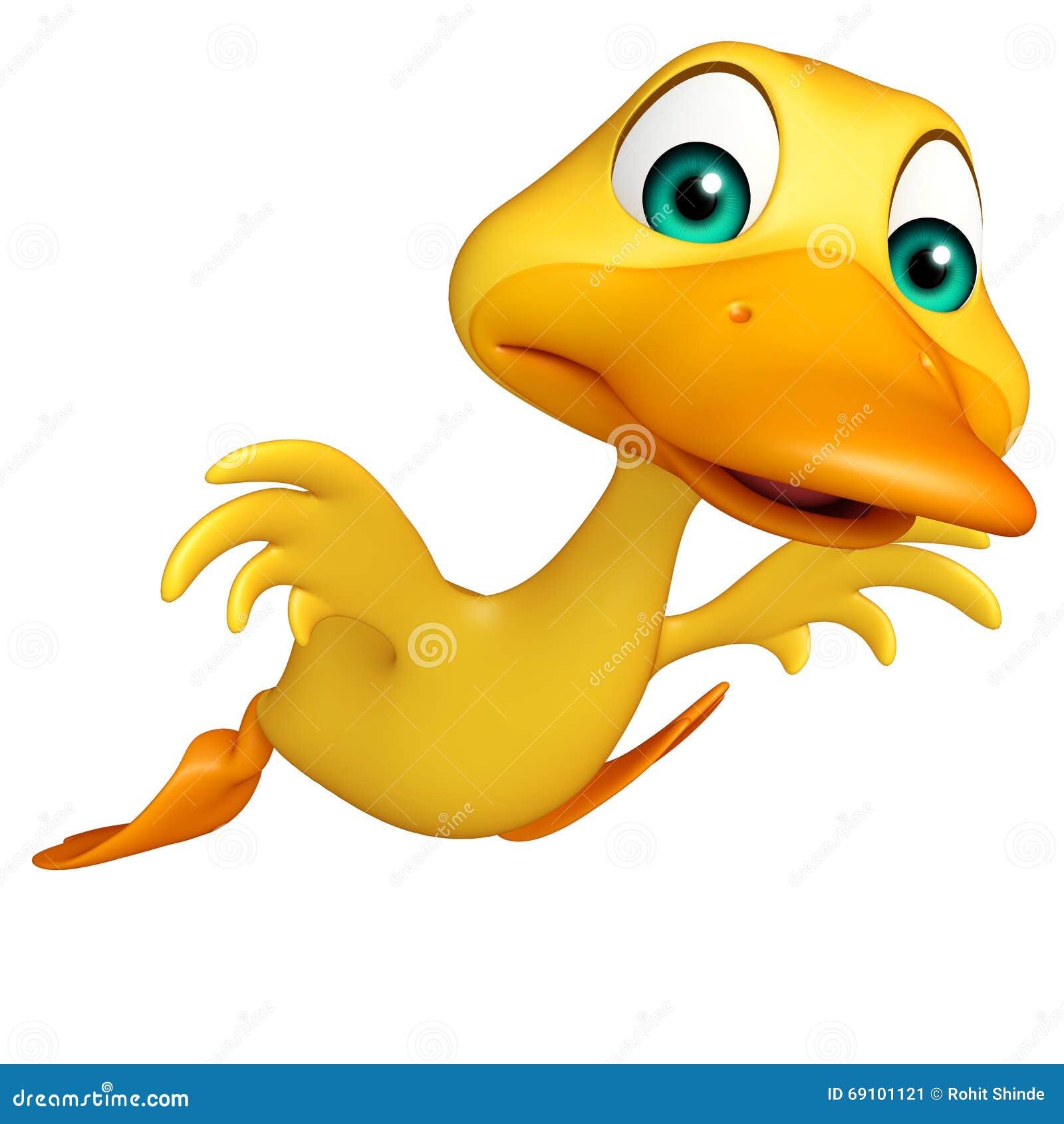 3d回报了鸭子滑稽的漫画人物的例证.图片