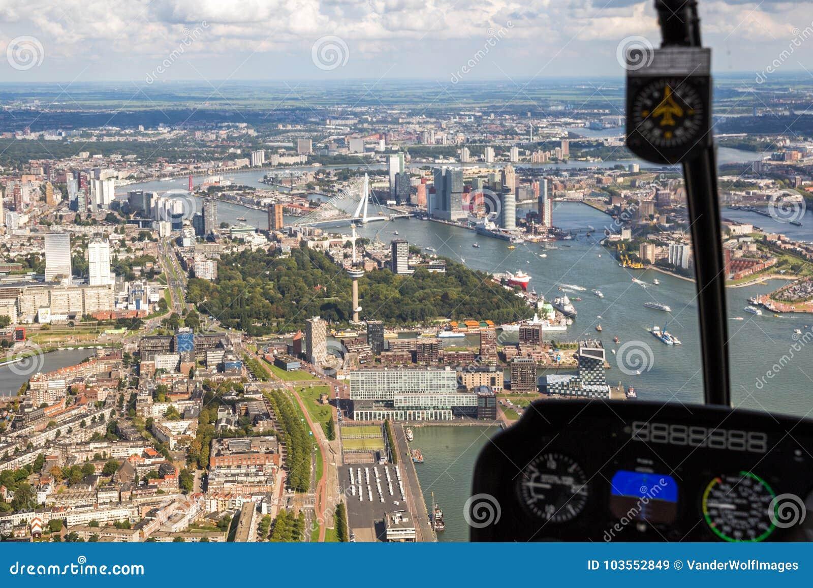 鹿特丹直升机鸟瞰图城市
