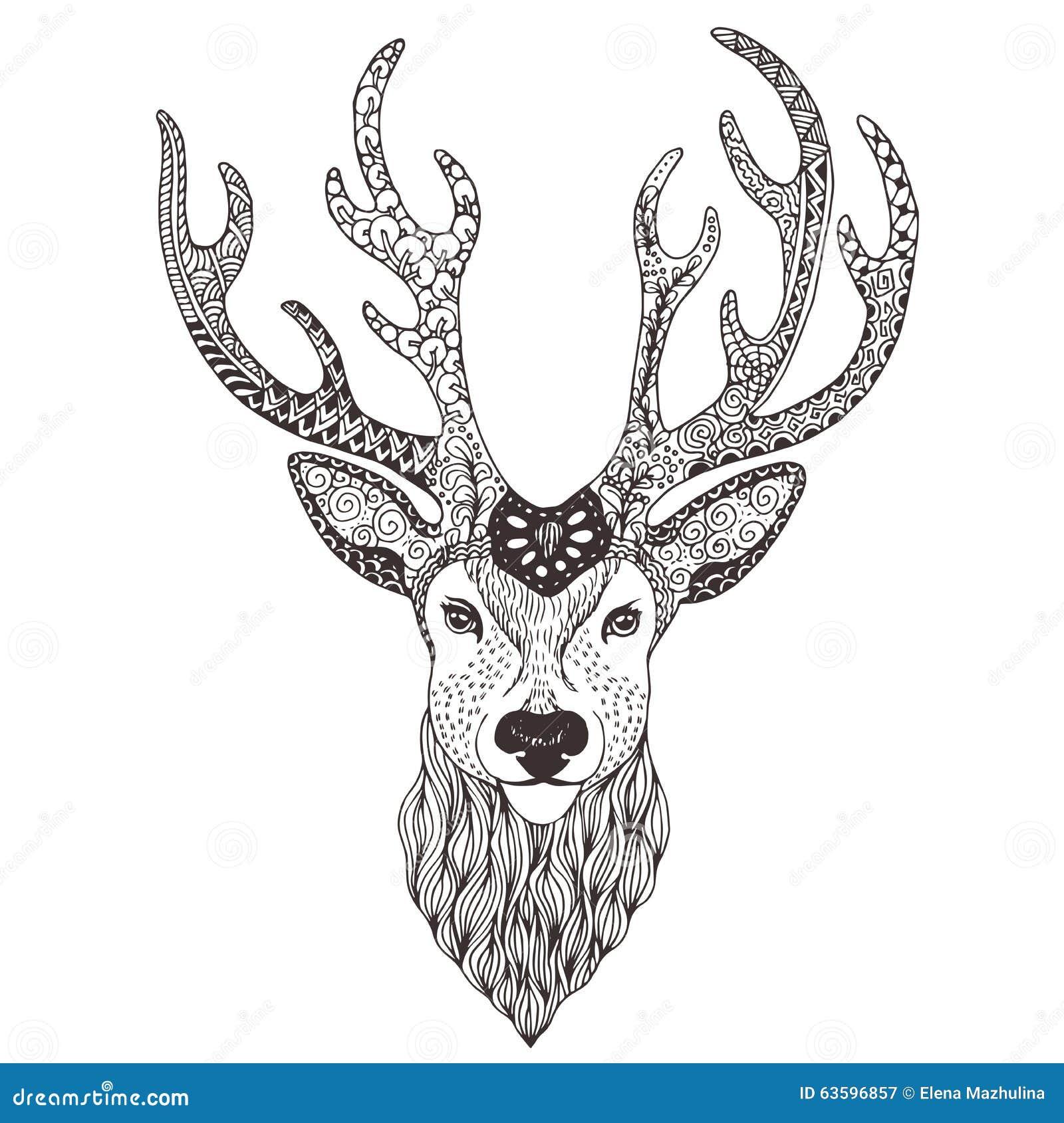 鹿顶头纹身花刺mehendi -例证.
