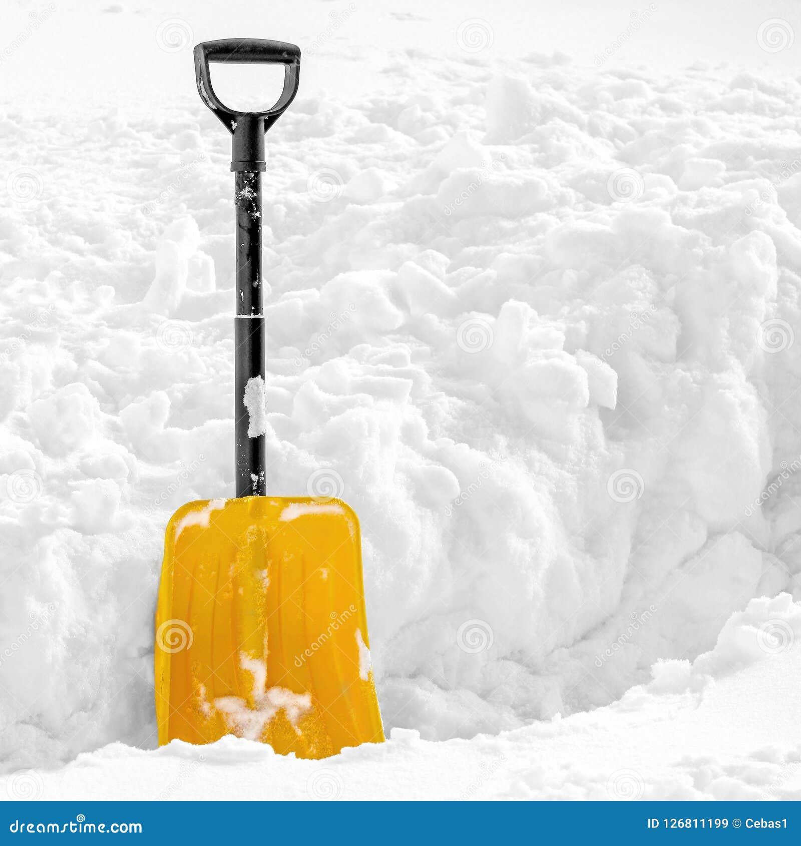 黄色塑料铁锹在蓬松白色雪黏附了在冬天